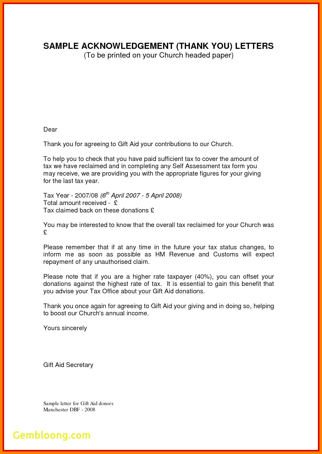 Acknowledgement Of Donation Letter Template - Sample Nonprofit Gift Acknowledgement Letter Inspirational Fresh