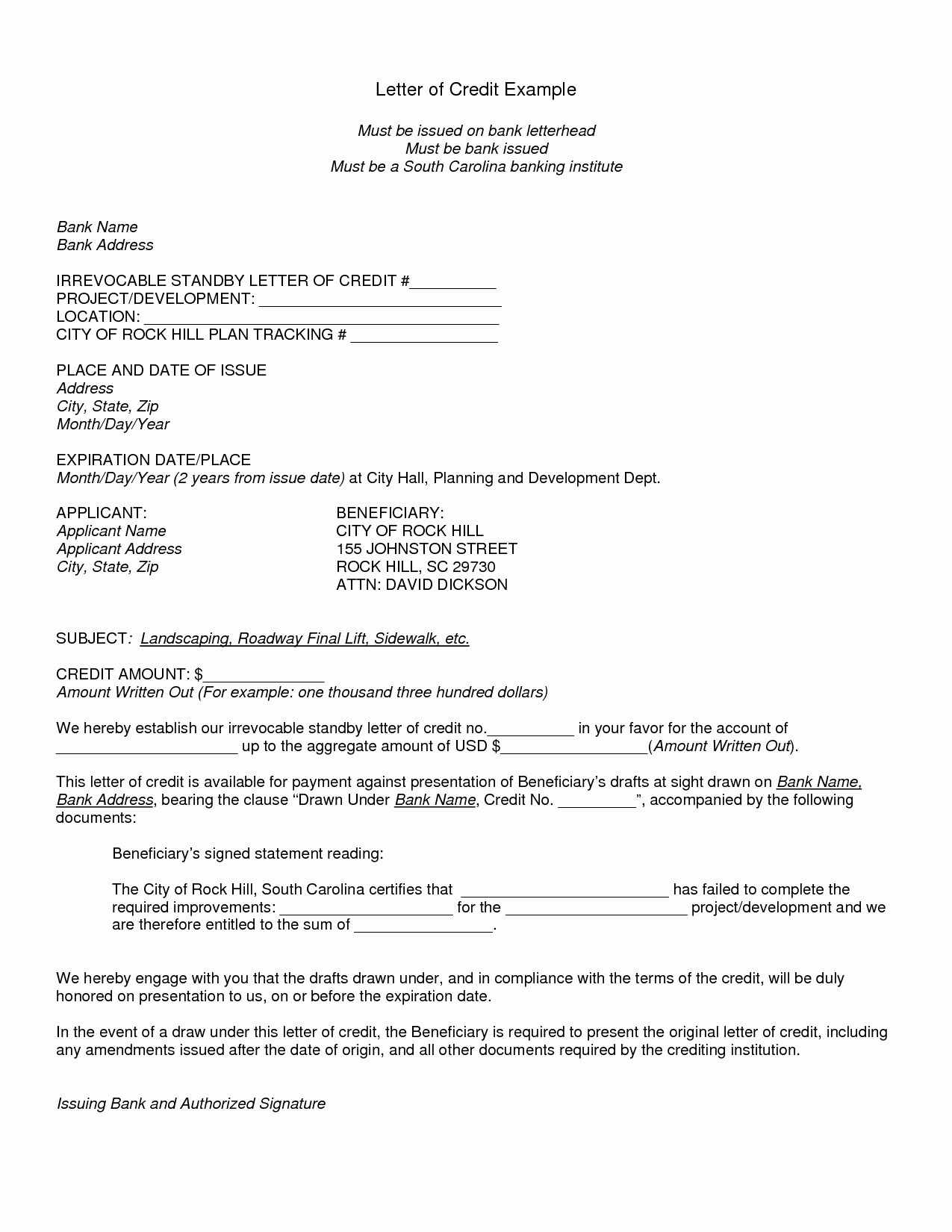 Irrevocable Letter Of Credit Template - Sample Of Letter Of Credit