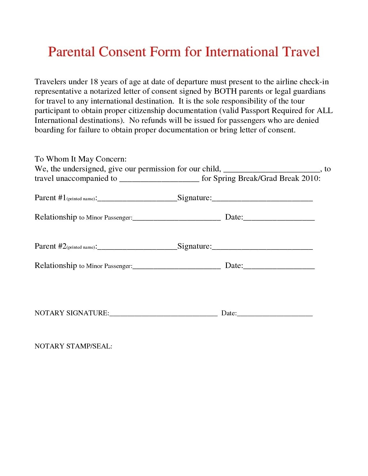 Notarized Letter Template for Child Travel - Sample Permission Letter to Travel Best Notarized Letter
