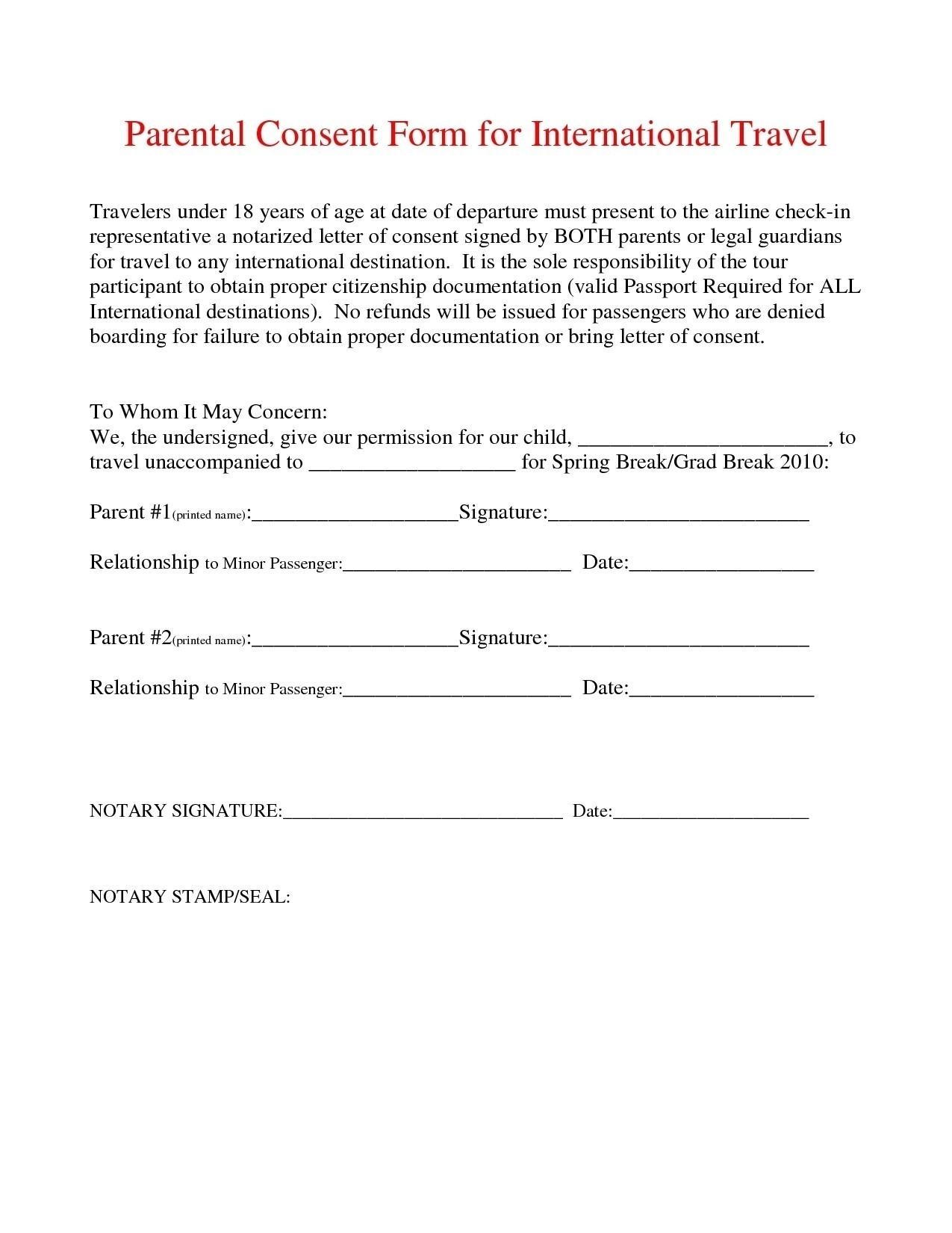 Parental Consent Permission Letter Template - Sample Permission Letter to Travel Best Notarized Letter