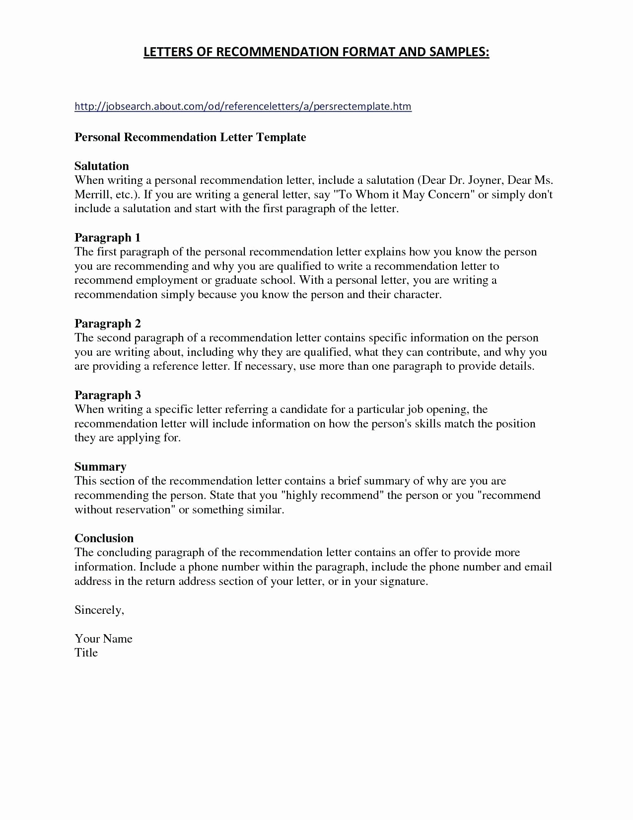 Free Printable Letter Of Recommendation Template - Sample Personalcharacter Reference Letter Created Using Ms Word