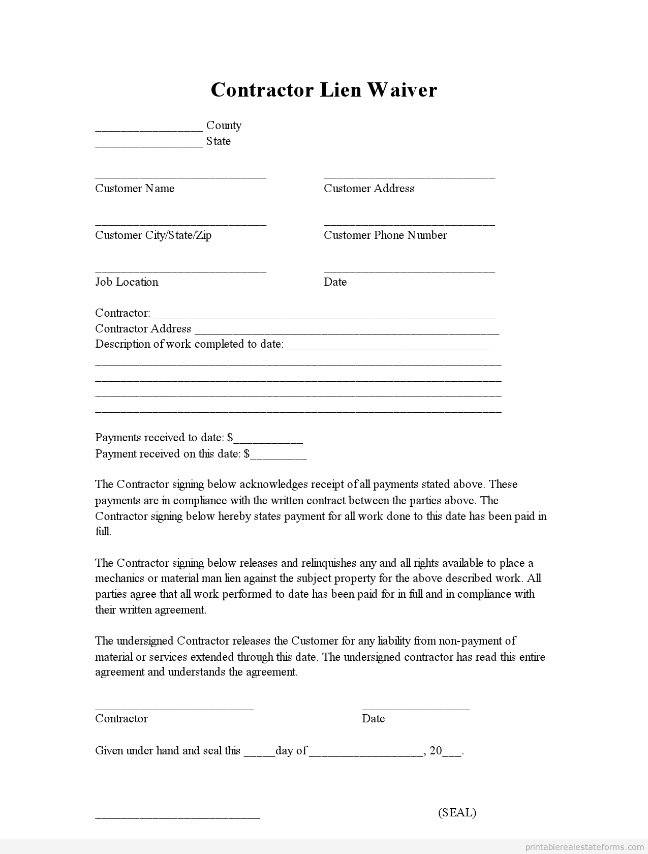 Auto Lien Release Letter Template - Sample Printable Contractor Lien Waiver form