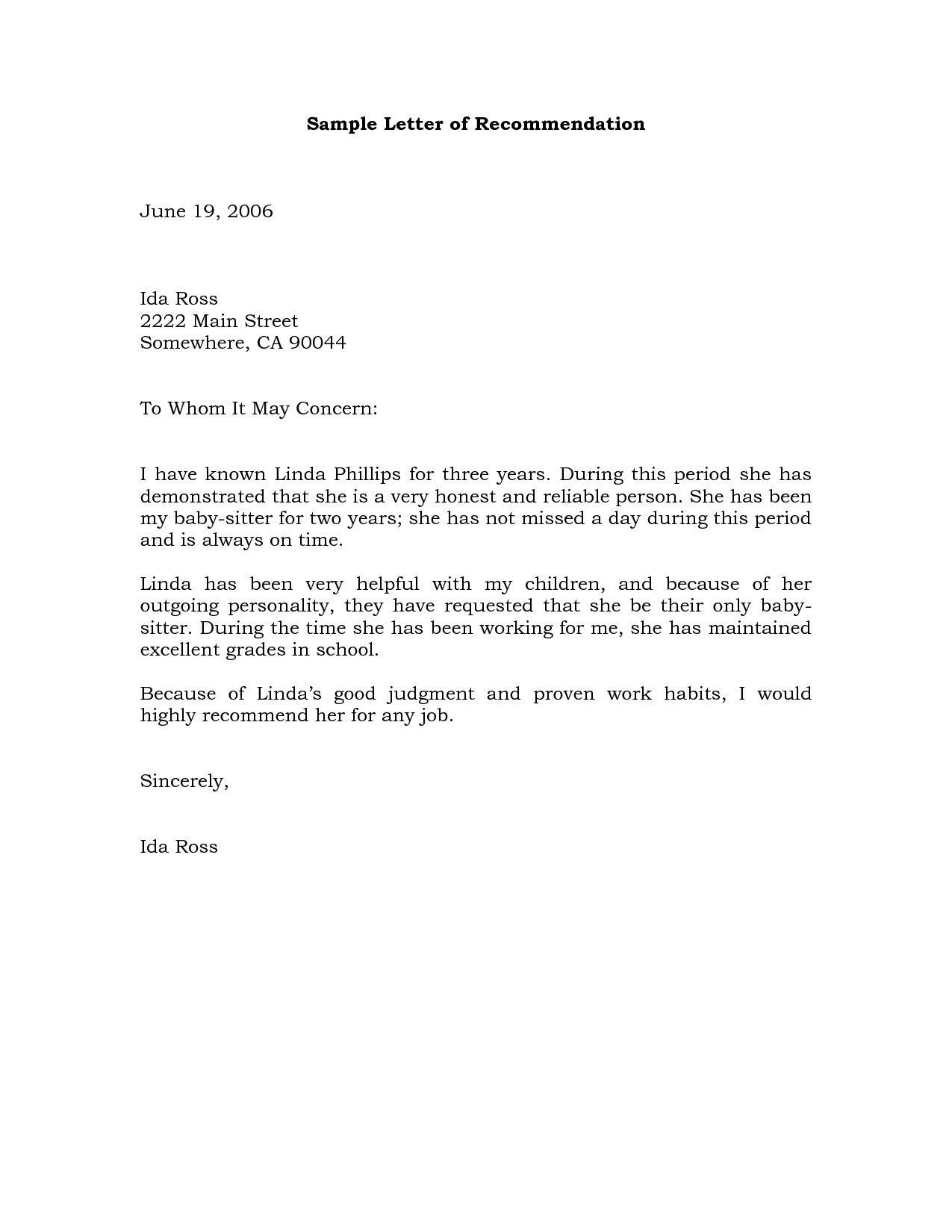 Free Printable Letter Of Recommendation Template - Sample Re Mendation Letter Example Projects to Try