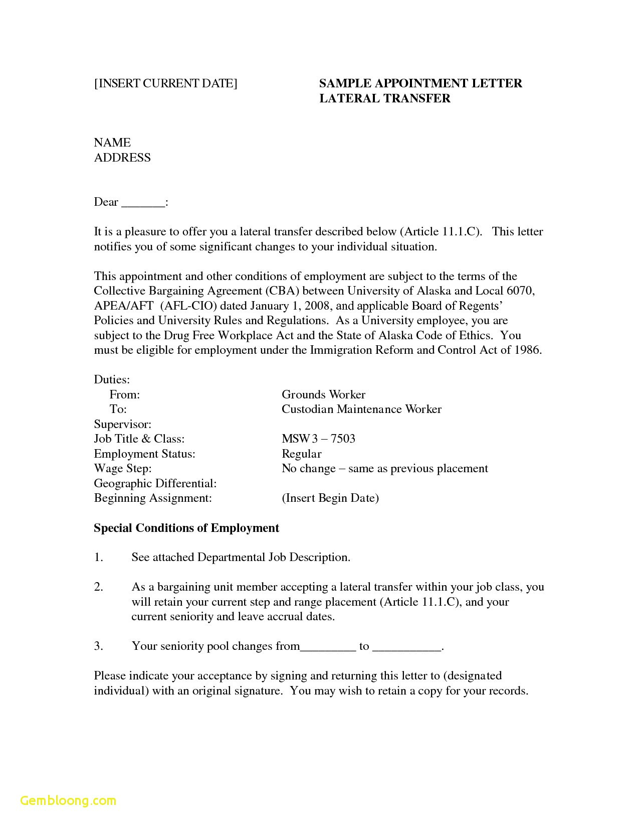 Employee Relocation Letter Template