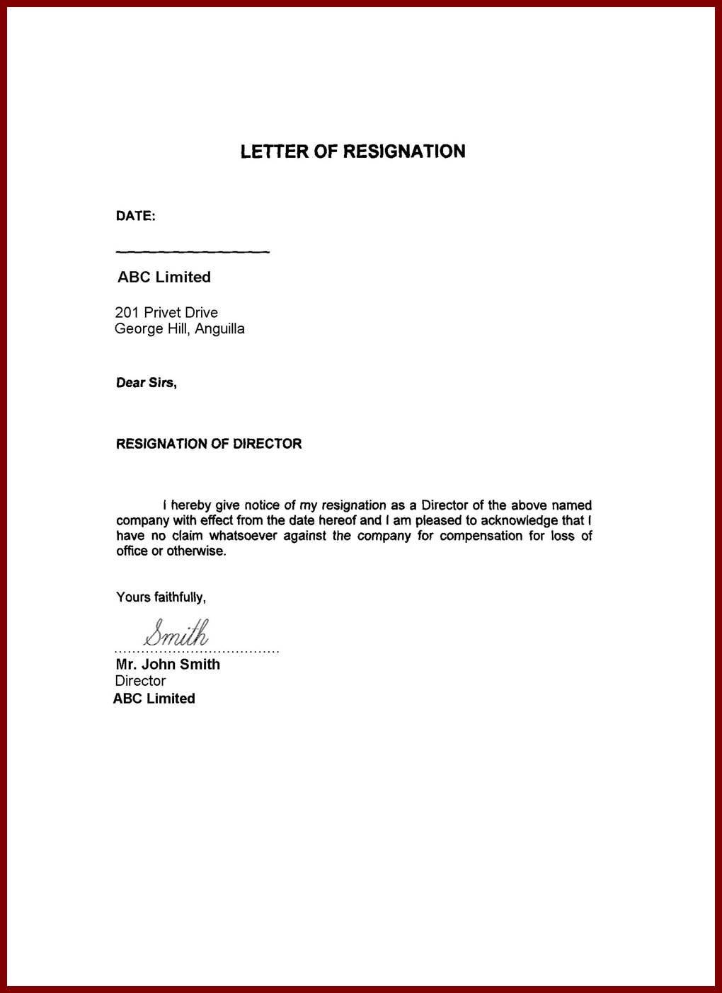 Immediate Resignation Letter Template - Sample Resignation Letter Immediate Effect Acceptance