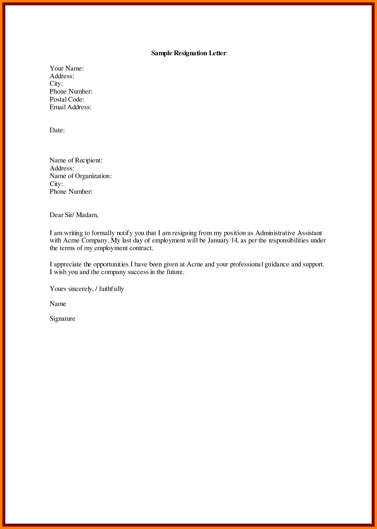 Professional Resignation Letter Template - Sample Resignation Letter Template Doc Copy Samples Resignation
