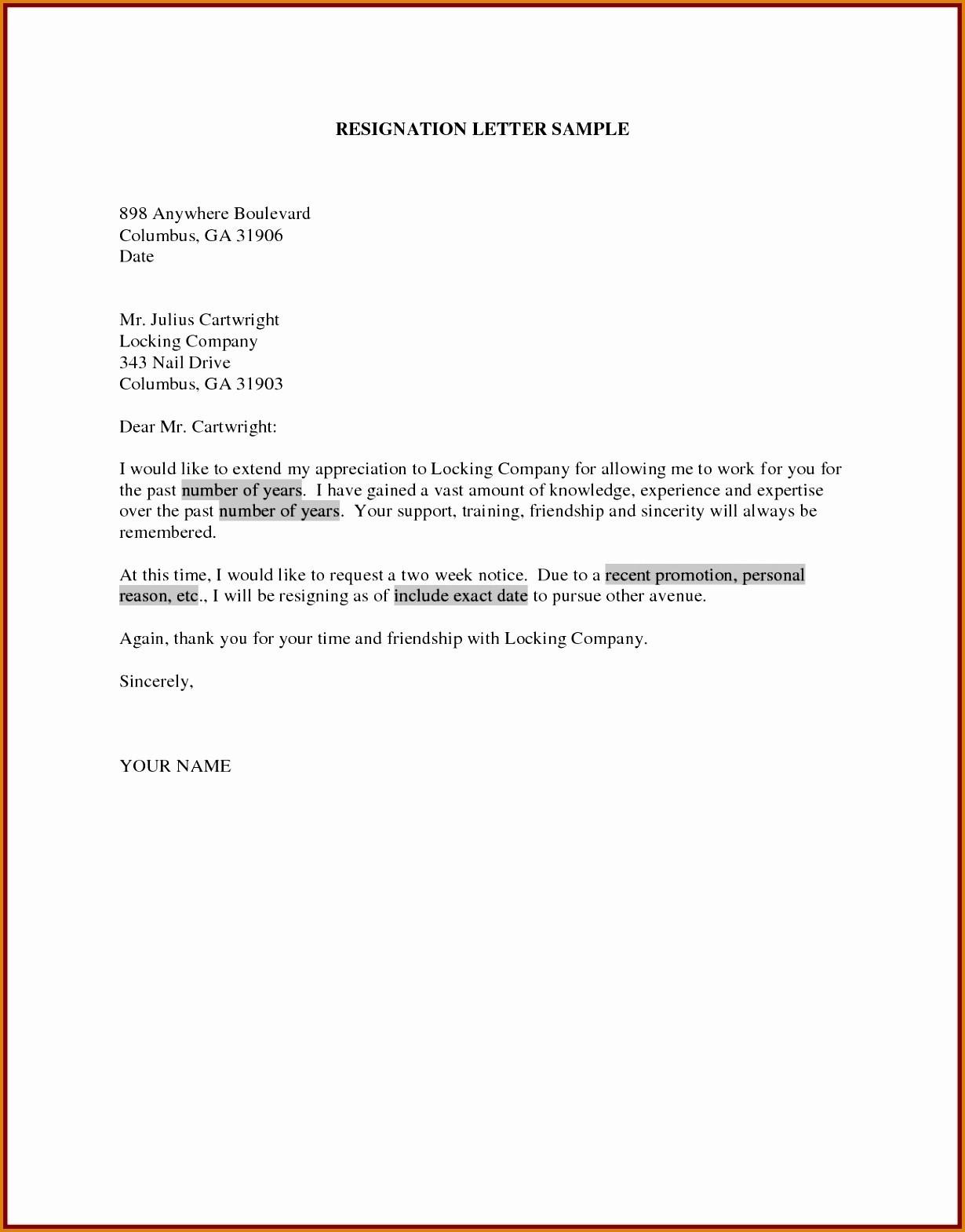 Resignation Letter Template Doc - Sample Resignation Letter Template Doc Copy Samples Resignation