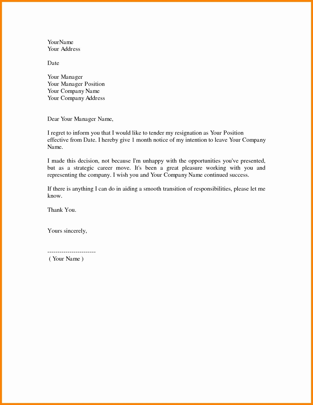 resignation letter template doc collection letter template collection