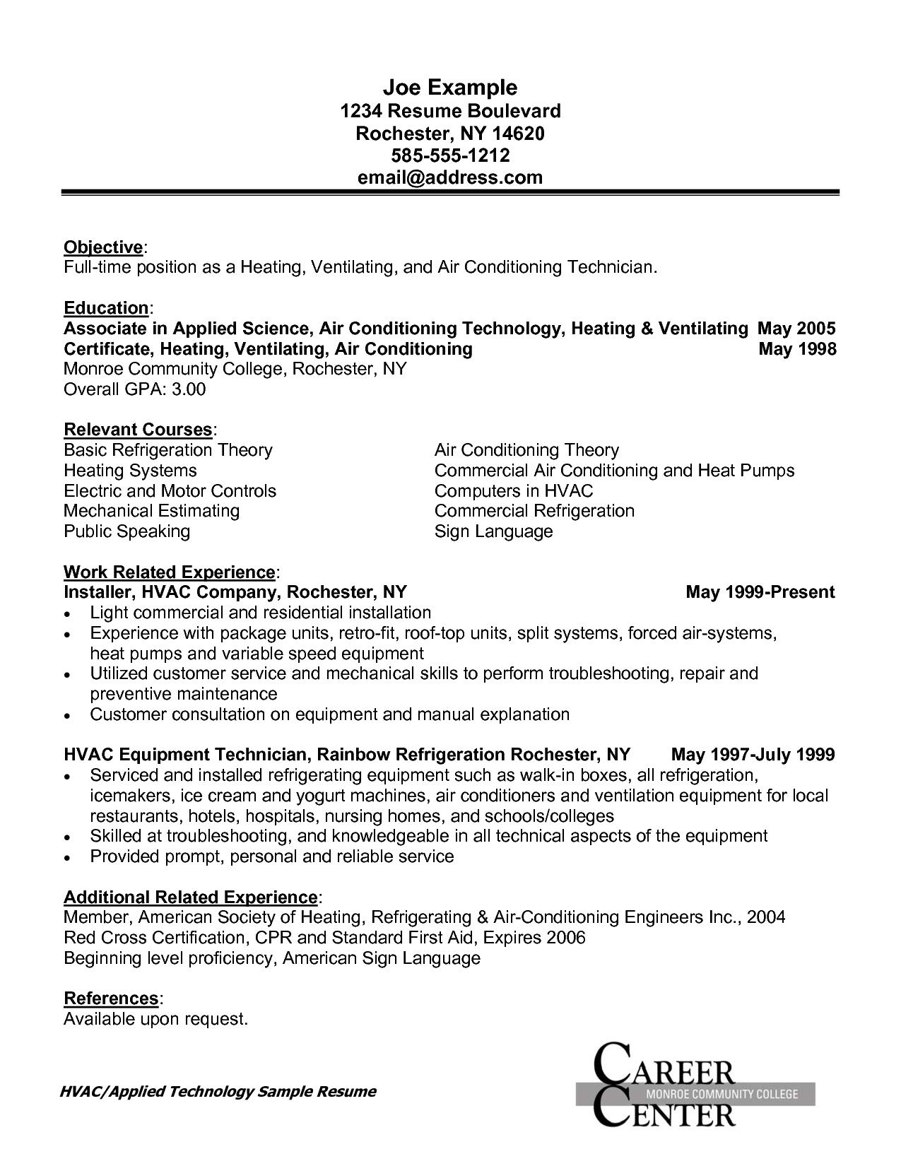 Hvac Cover Letter Template - Sample Resume for Field Service Technician Field Service Technician