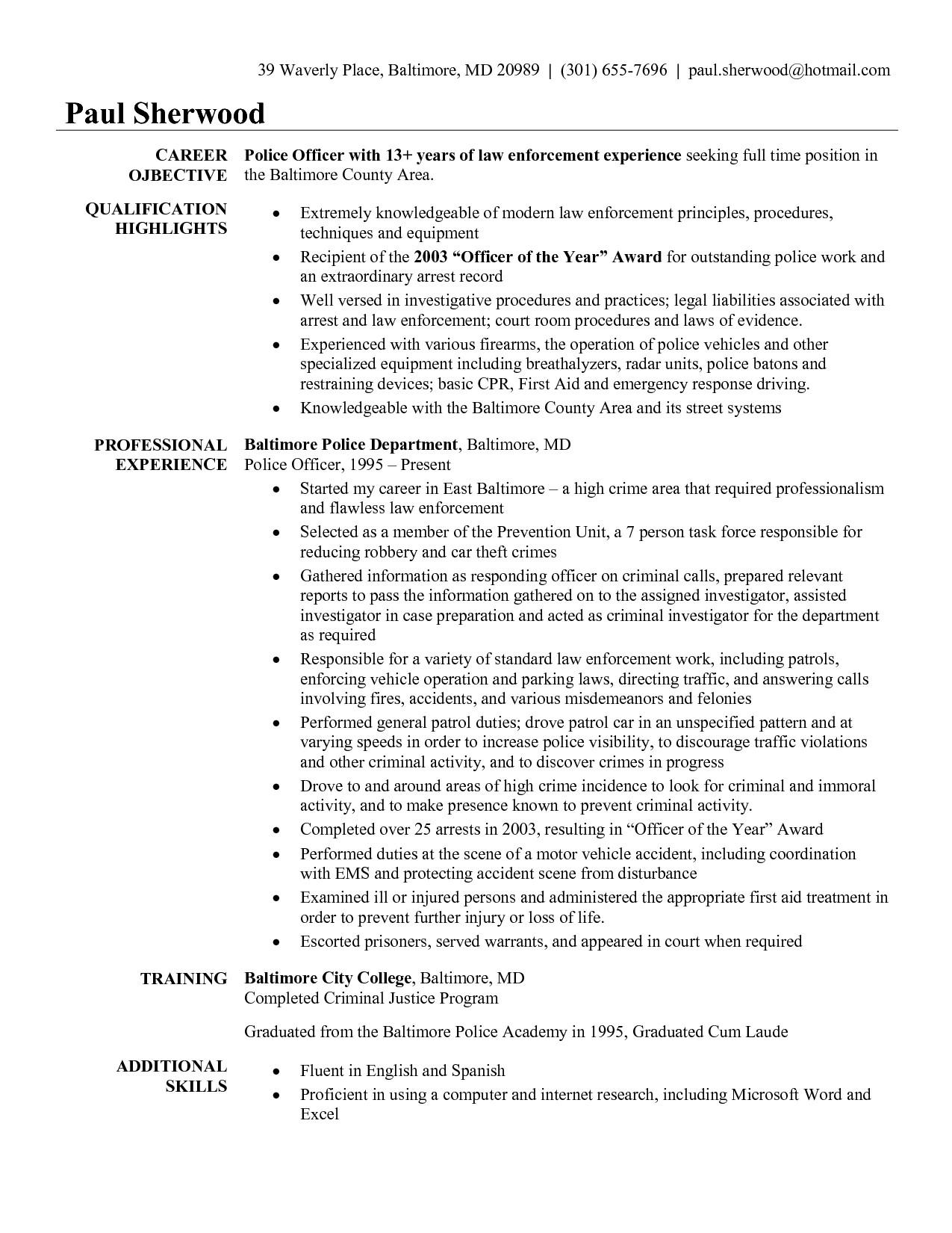 Police Officer Cover Letter Template - Sample Resume for Police Ficer Police Ficer Cover Letter No