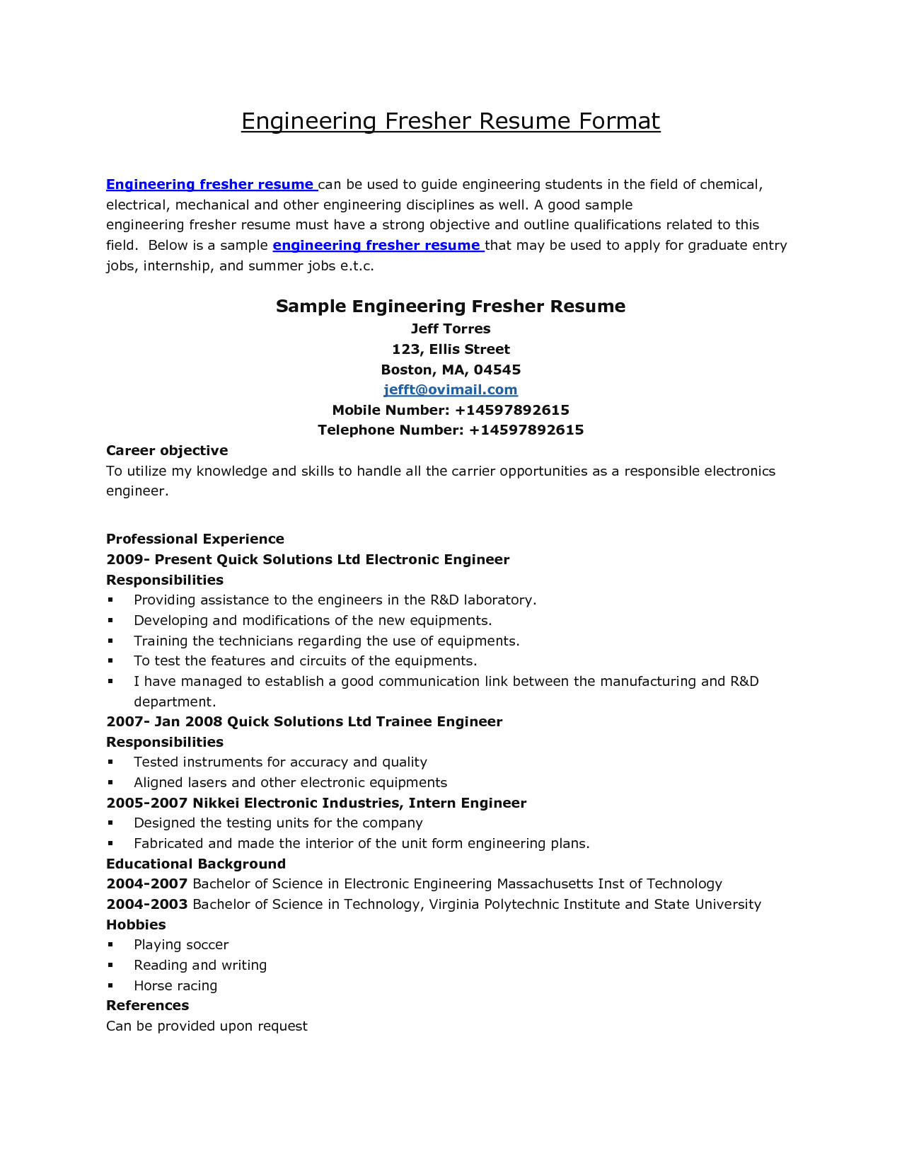Mechanical Engineering Cover Letter Template - Sample Resume Mechanical Engineer Fresh Graduate Fresh Sample Cover