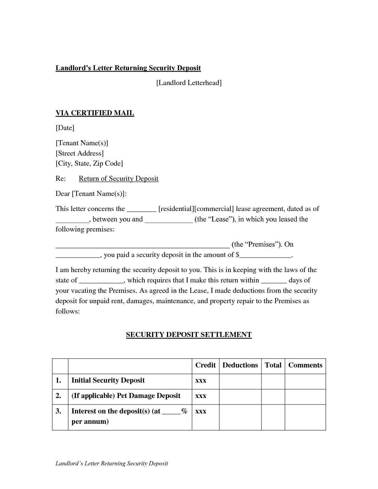 security deposit refund letter template sample security deposit refund letter