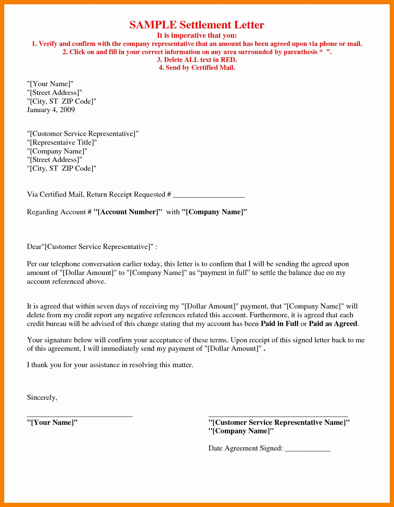 Car Accident Settlement Letter Template Collection Letter Template