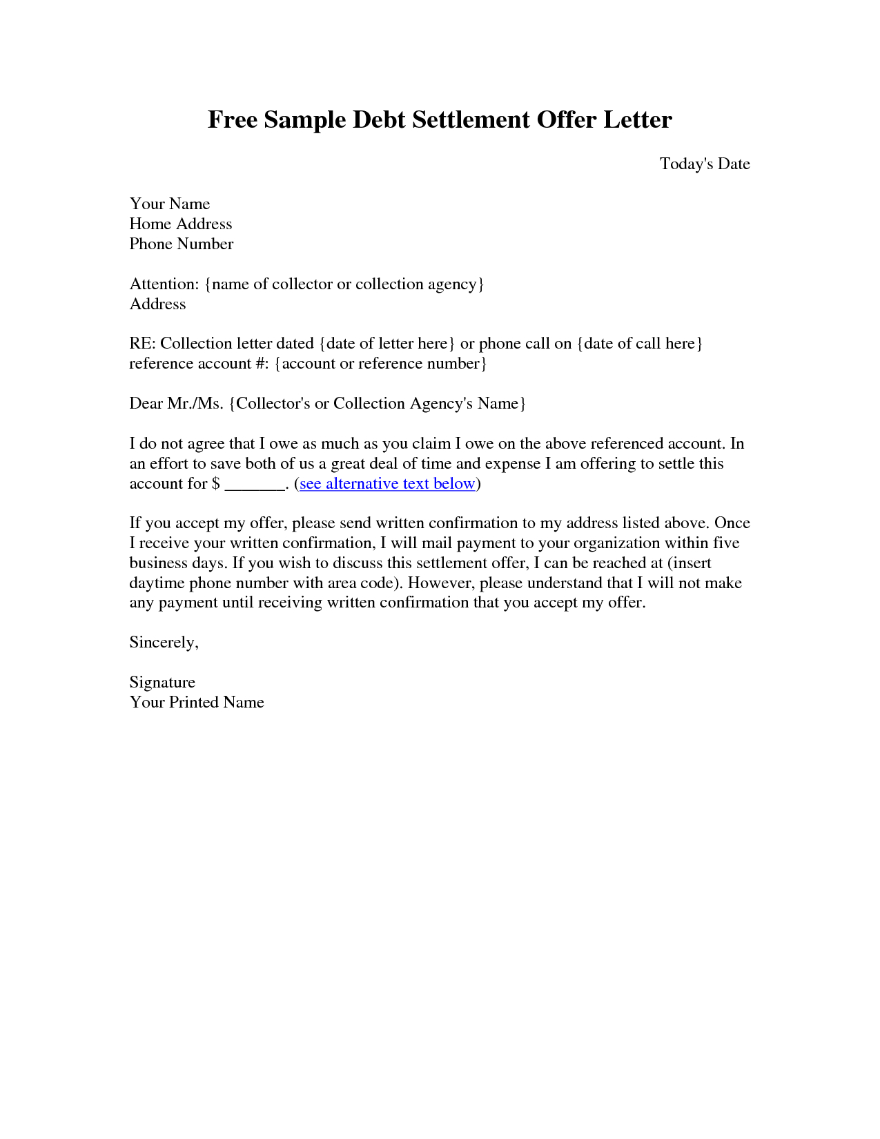 Settlement Offer Letter Template - Sample Settlement Letter Debt Settlement Letter Sample