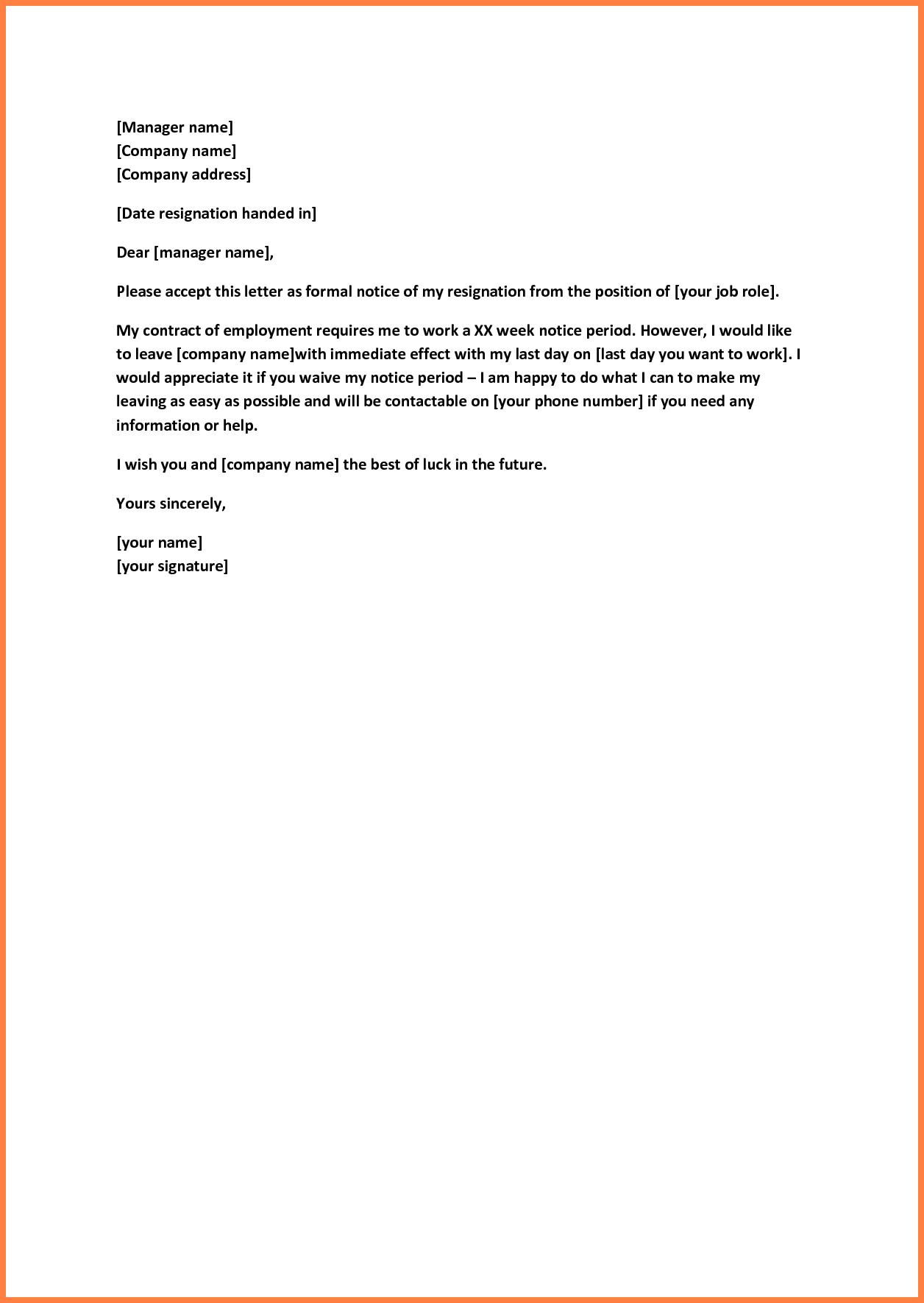 Short Resignation Letter Template - Sample Short Notice Resignation Letter Image Collections Letter