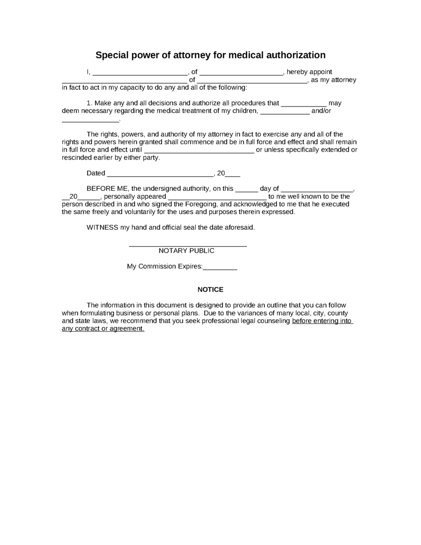 Power Of attorney Letter Template - Sample Special Power Of attorney for Medical Authorization form