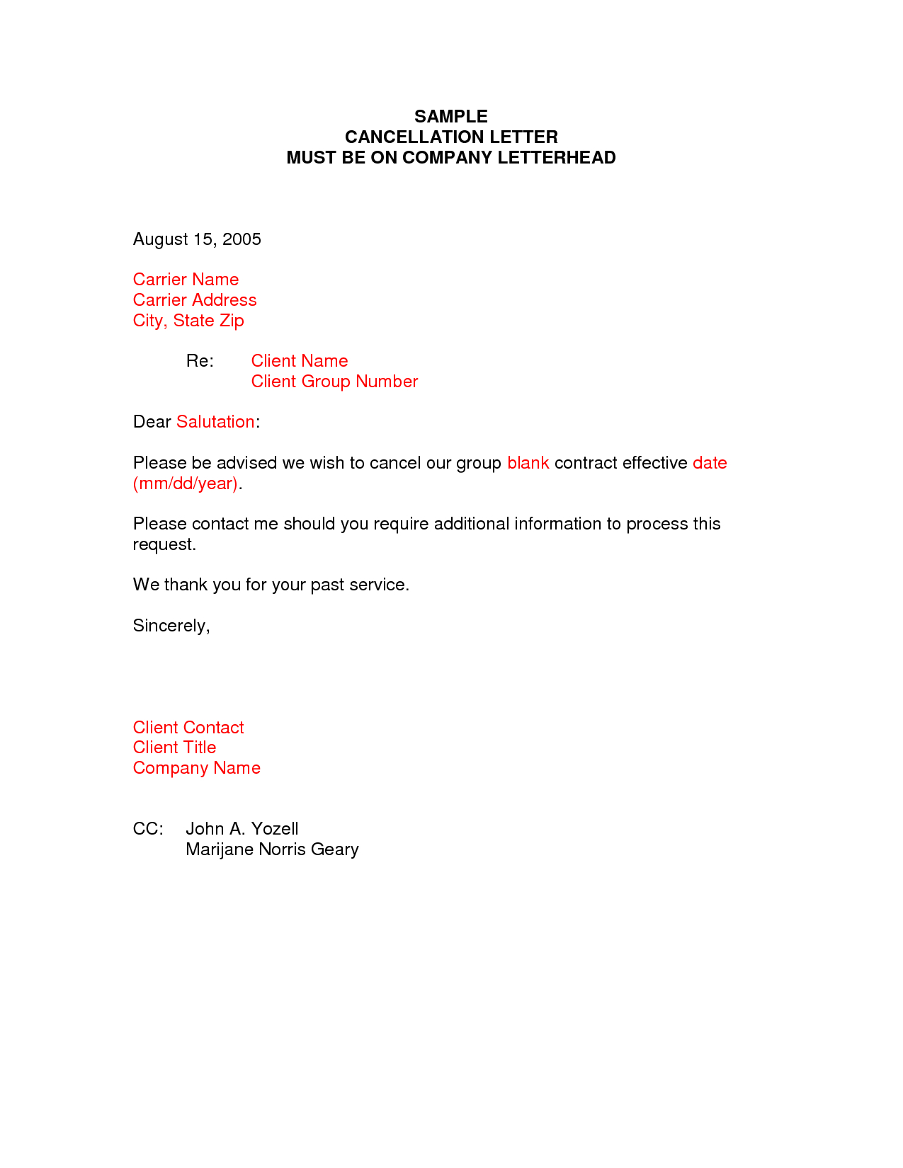 Insurance Policy Cancellation Letter Template - Sample Termination Letter format Business Case Examples Free Cover
