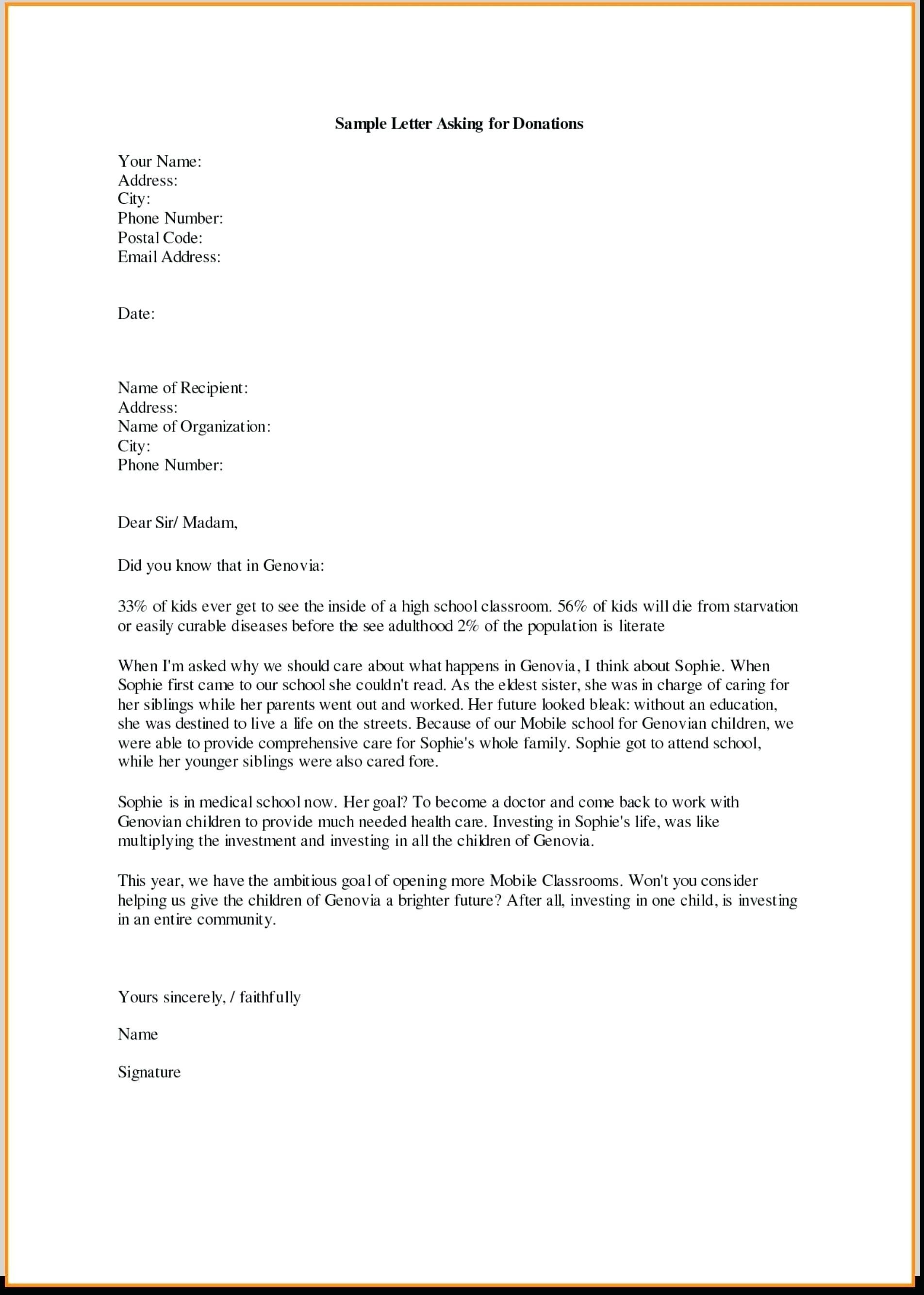 Charity Letter Template asking for Donations - Samples Letters Request Donation Best Samples Letters Request