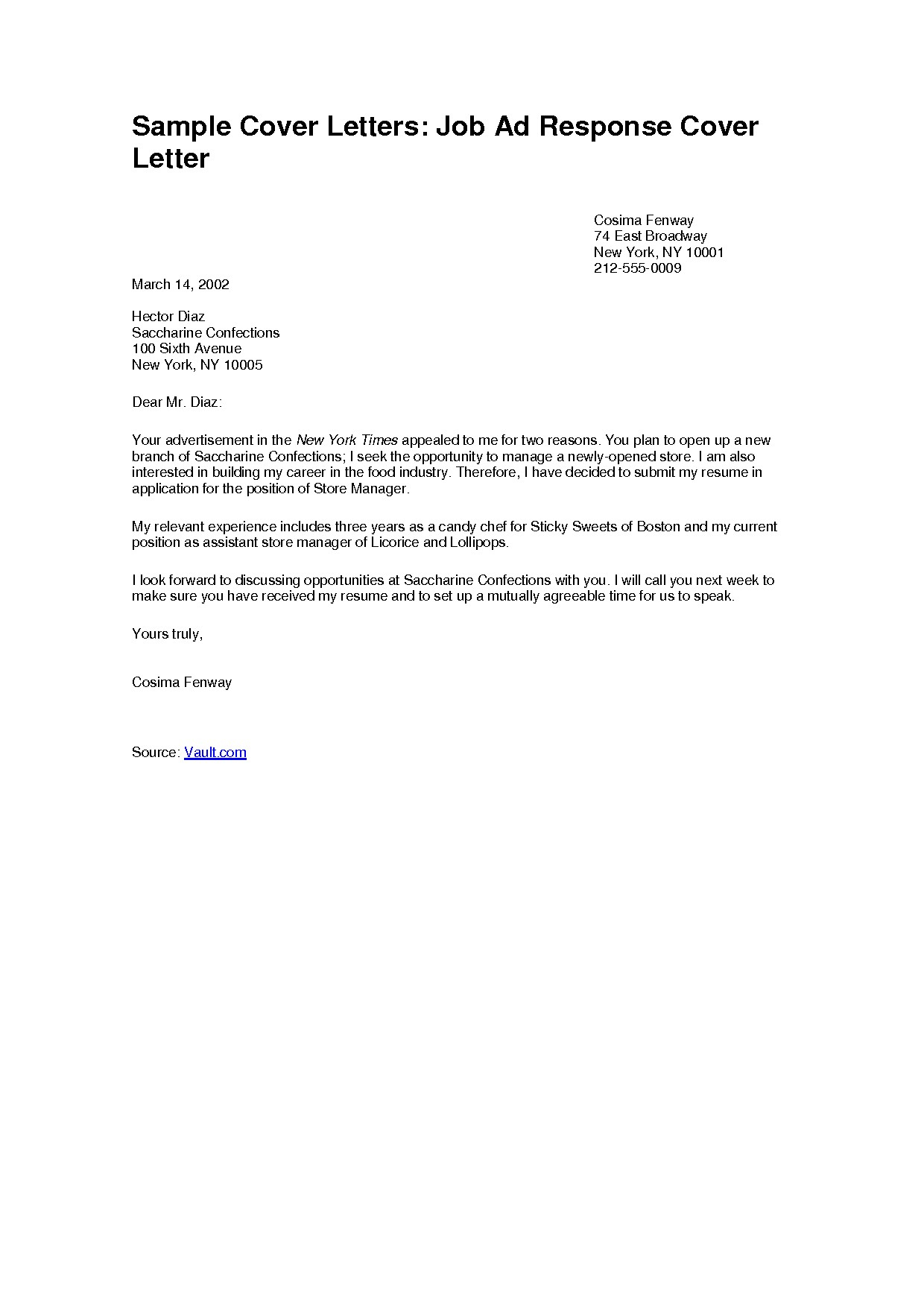 Employment Cover Letter Template - Samples Of Job Cover Letters Acurnamedia
