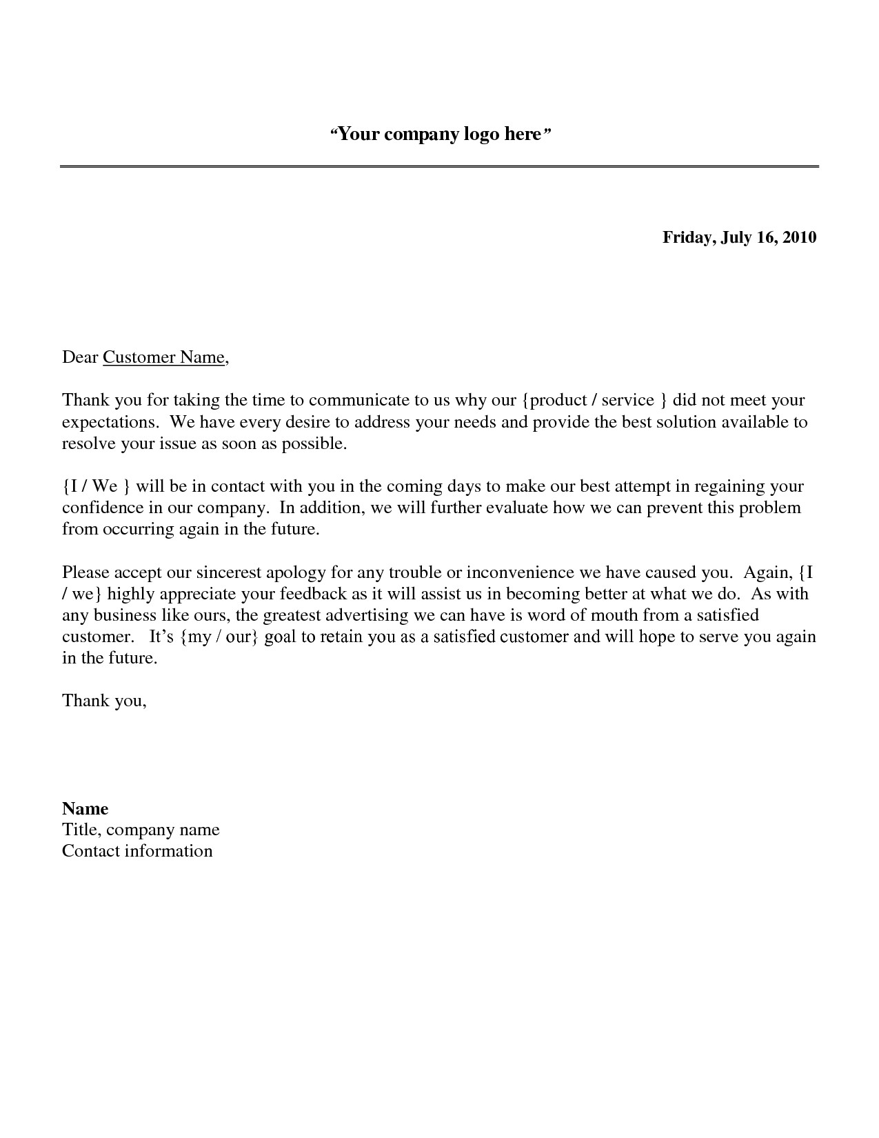 Reply to Patient Complaint Letter Template - Samples Response Letters to Customer Plaints Fresh Business