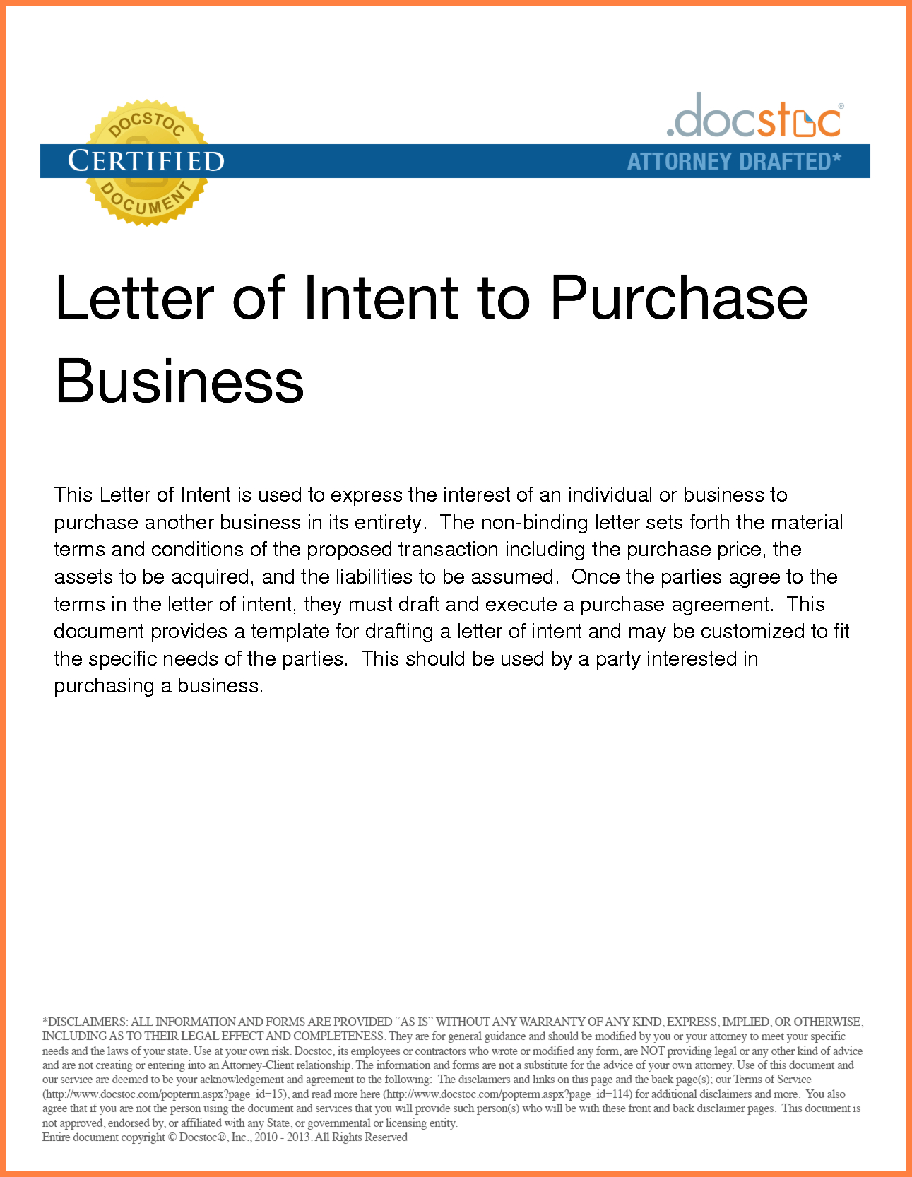 Letter Of Intent to Purchase Business Template - Sampletter Intent to Franchise Business Purchase Small Buy Sample