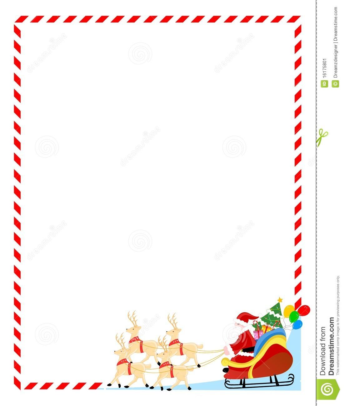 Christmas Letter Border Template - Santa Letter Borders Acurnamedia