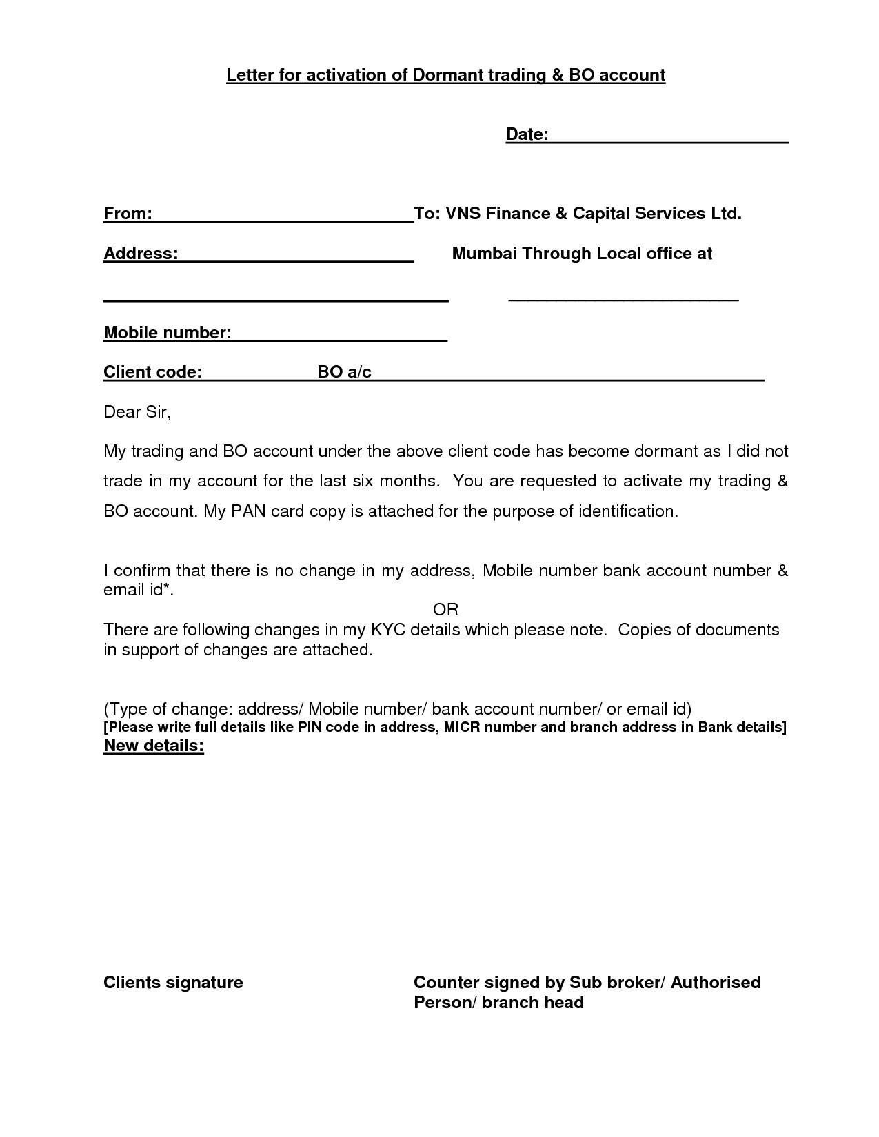 Audit Confirmation Letter Template - Save Letter format for Reactivation Bank Account