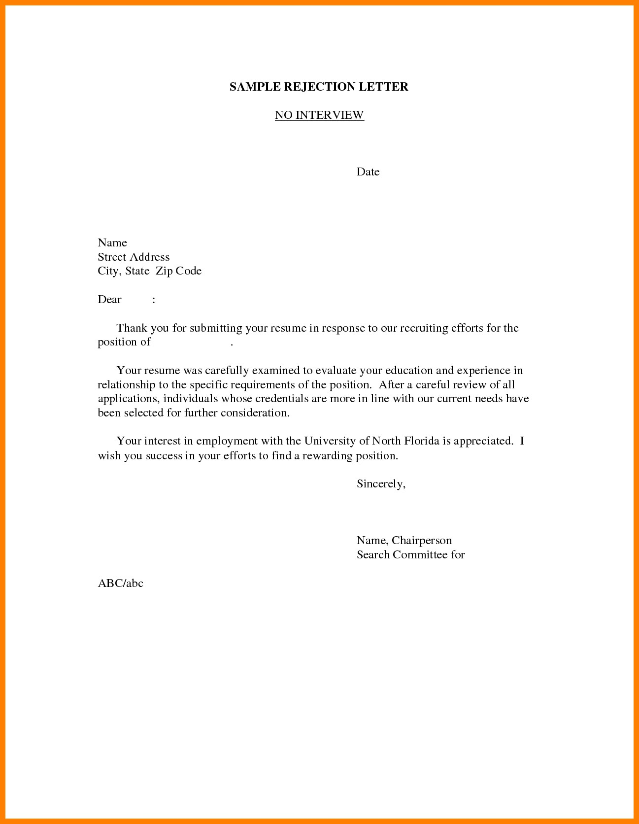 Rejection Letter Template after Interview - Save Reply to A Job Application Regret Letter Sample
