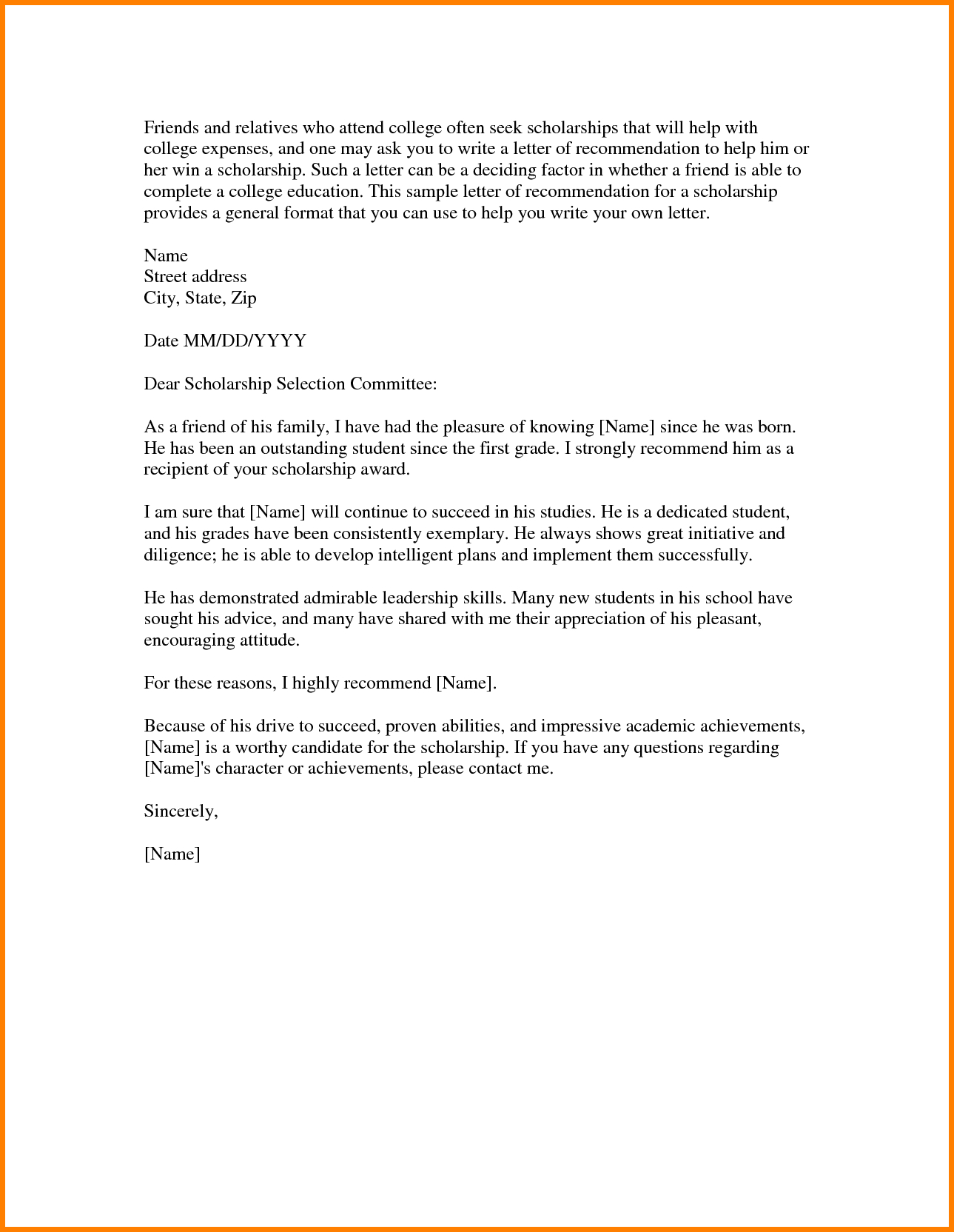scholarship reference letter template scholarship reference letter format gallery letter format formal