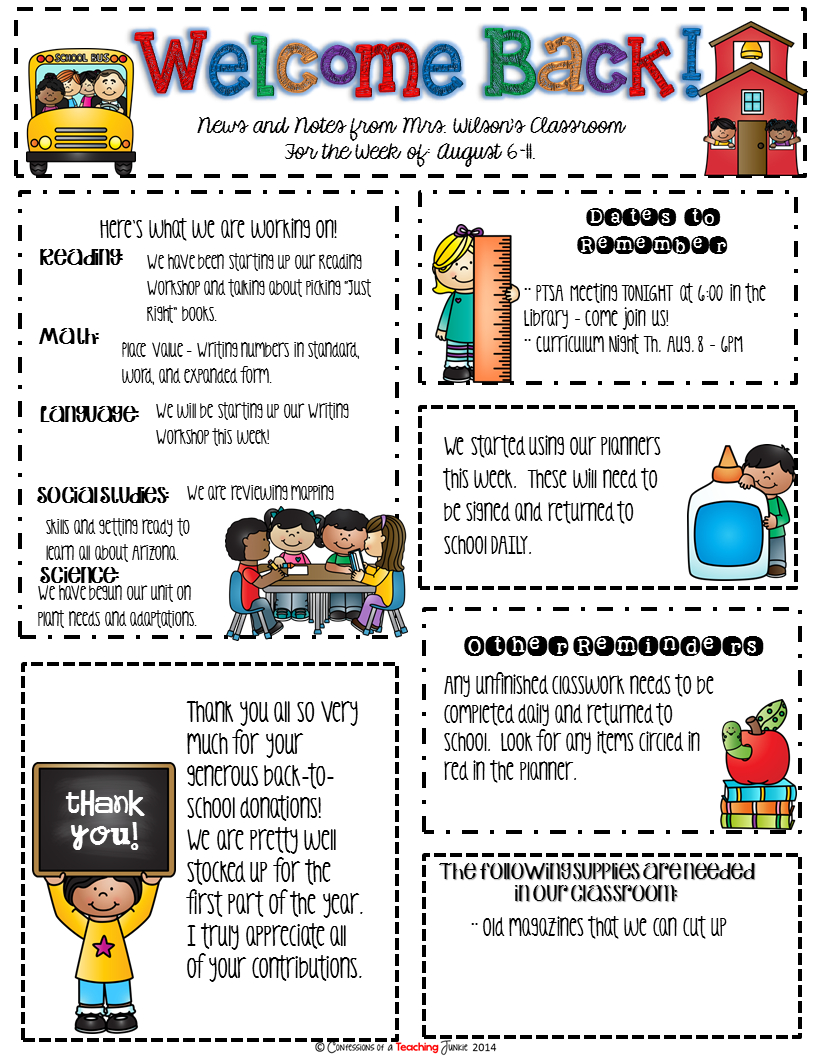 Weekly Letter to Parents Template - Seasonal Classroom Newsletter Templates for Busy Teachers