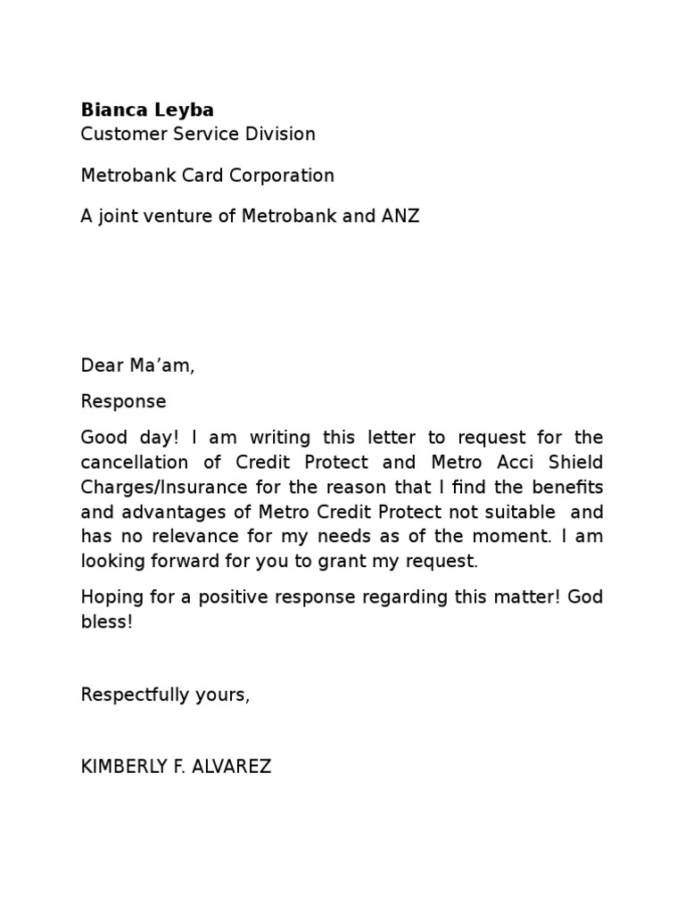 Insurance Policy Cancellation Letter Template - Service Cancellation Letter Sample