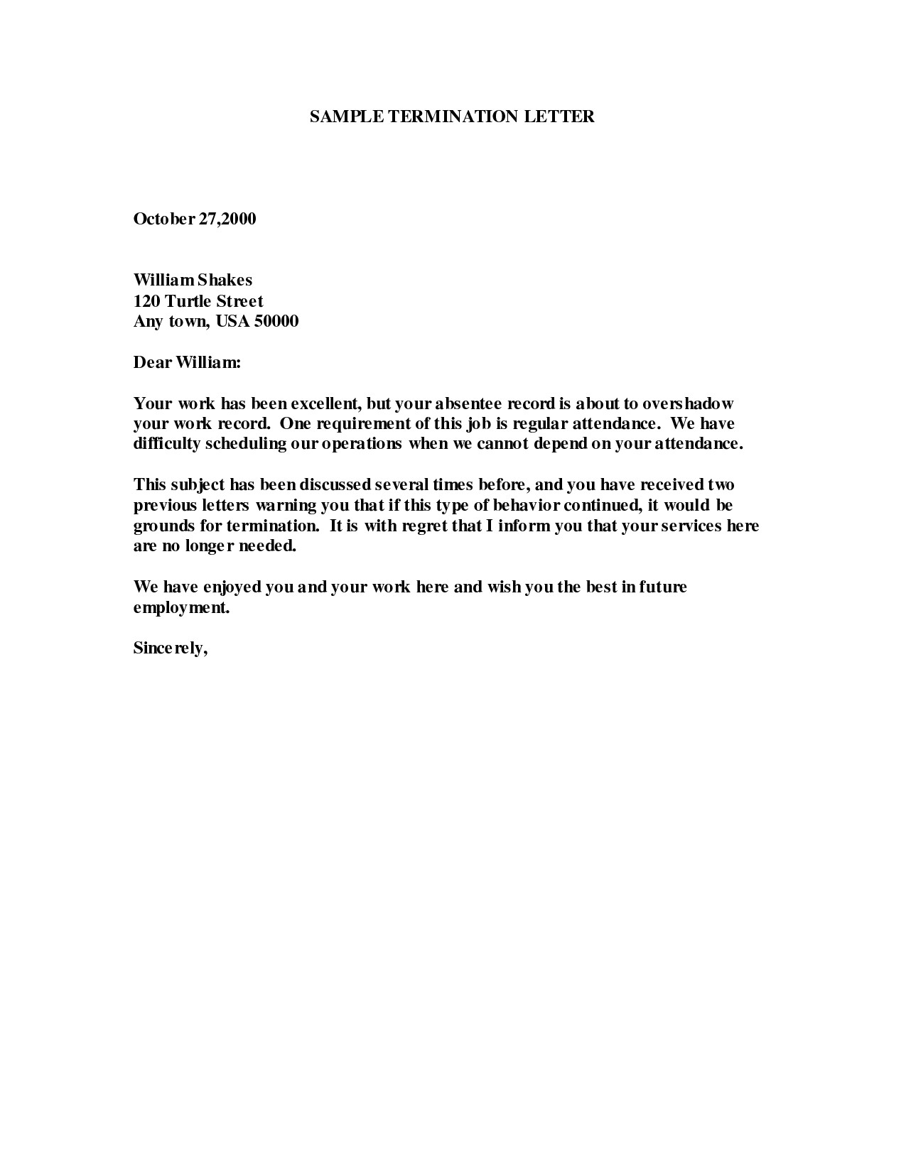 employee termination letter template free collection letter