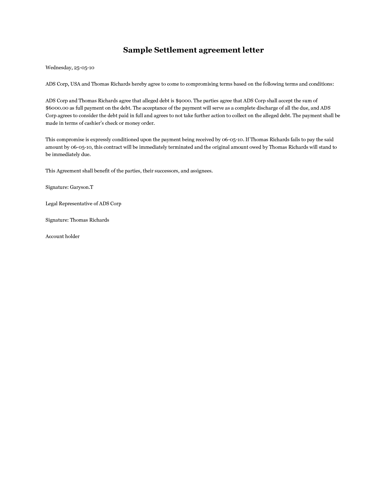 Settlement Agreement Letter Template - Settlement Agreement Letter A Debt Settlement Agreement Letter