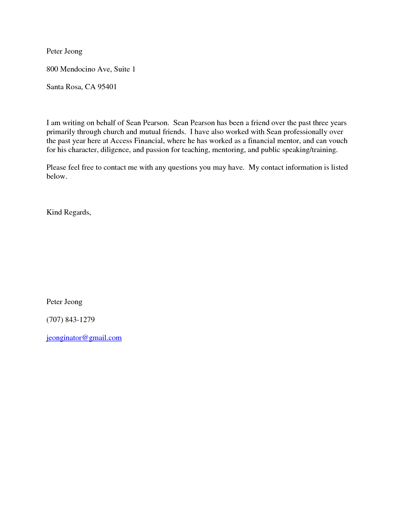 Reference Letter for Friend Character Template - Short Character Reference Letter Choice Image Letter format formal