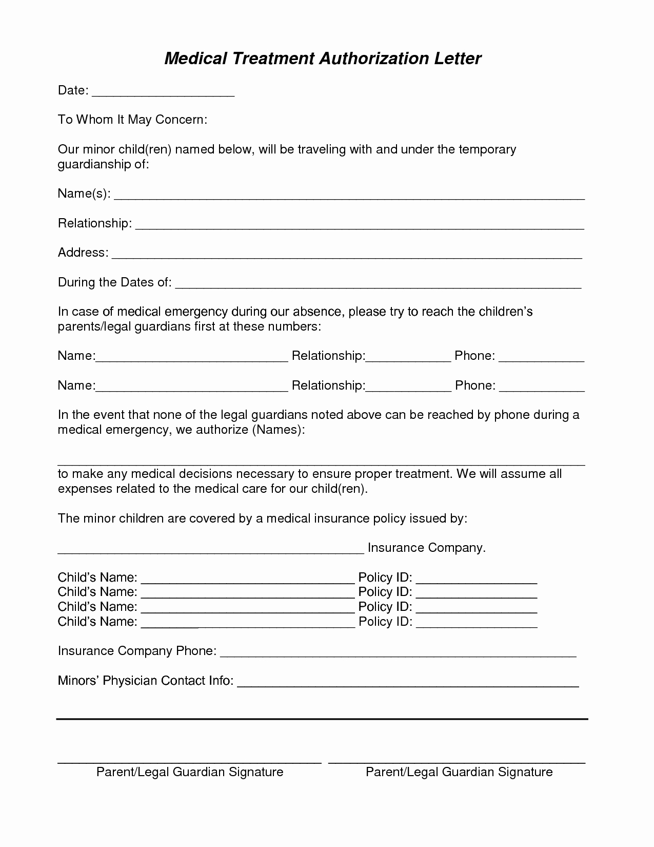 Medical Consent Letter for Grandparents Template - Sick form Template Elegant Medical Consent form for Grandparents