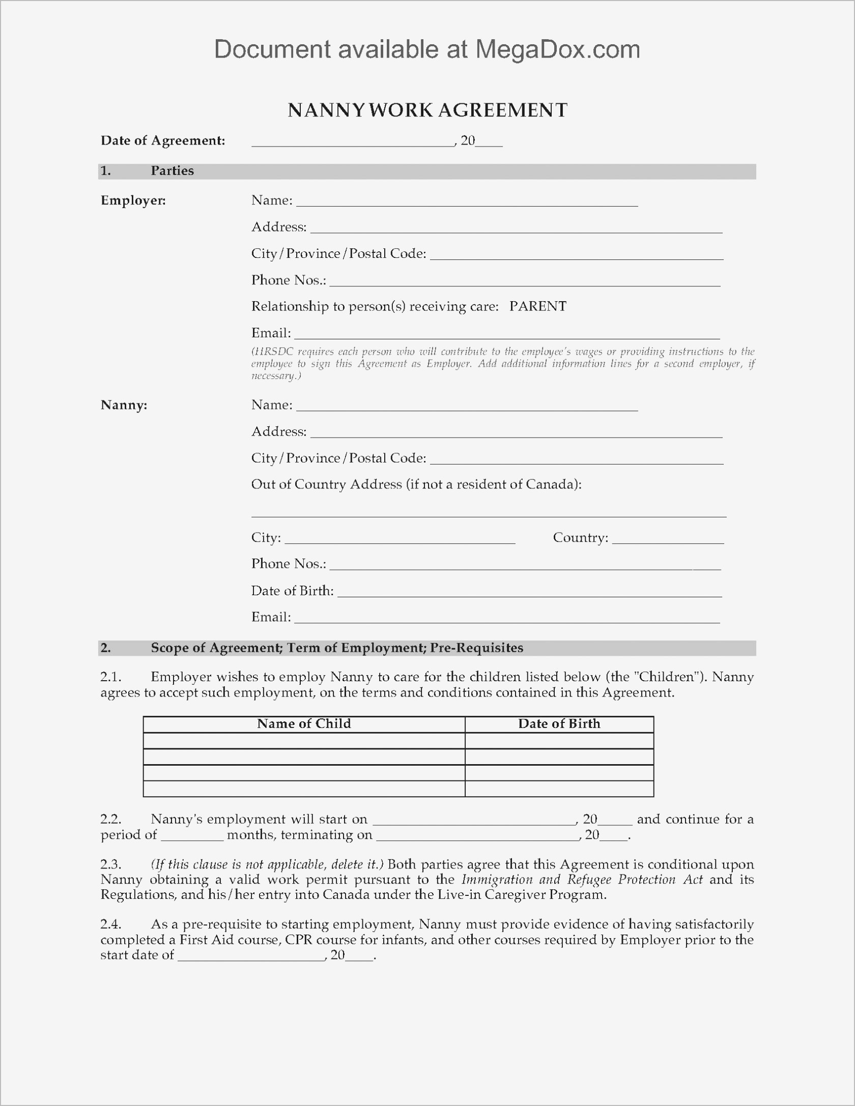 Termination Of Contract Agreement Letter Template - Simple Employment Agreement Samples
