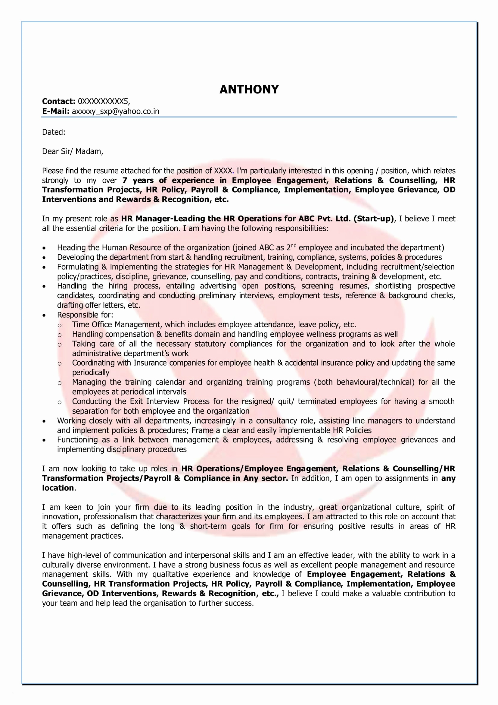 Hr Letter Template - Simple Resume Cover Letter format Legalsocialmobilitypartnership