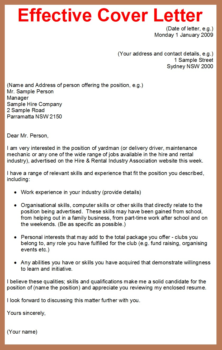 sample of great cover letters