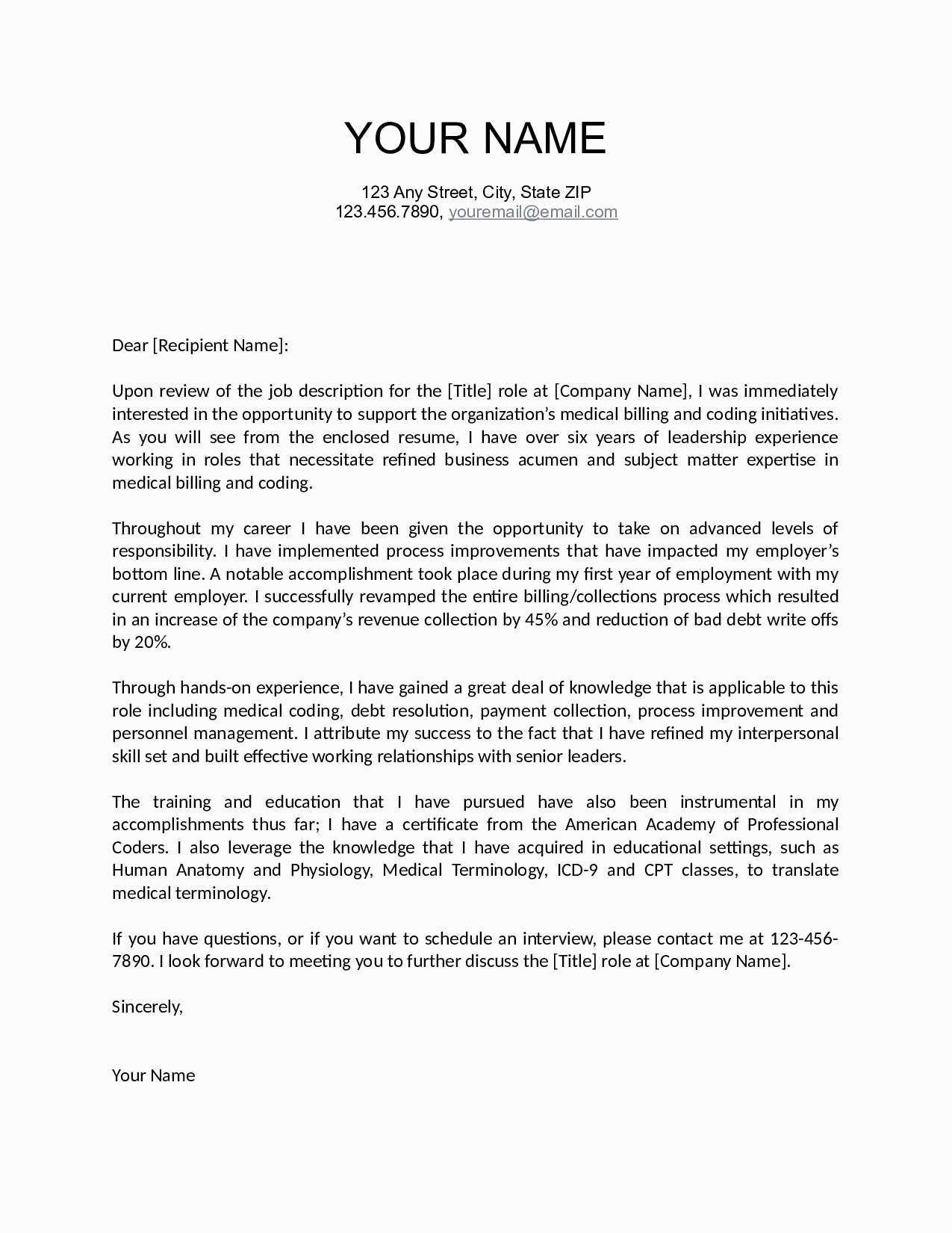 Basic Cover Letter Template - Simple Resume Letter format