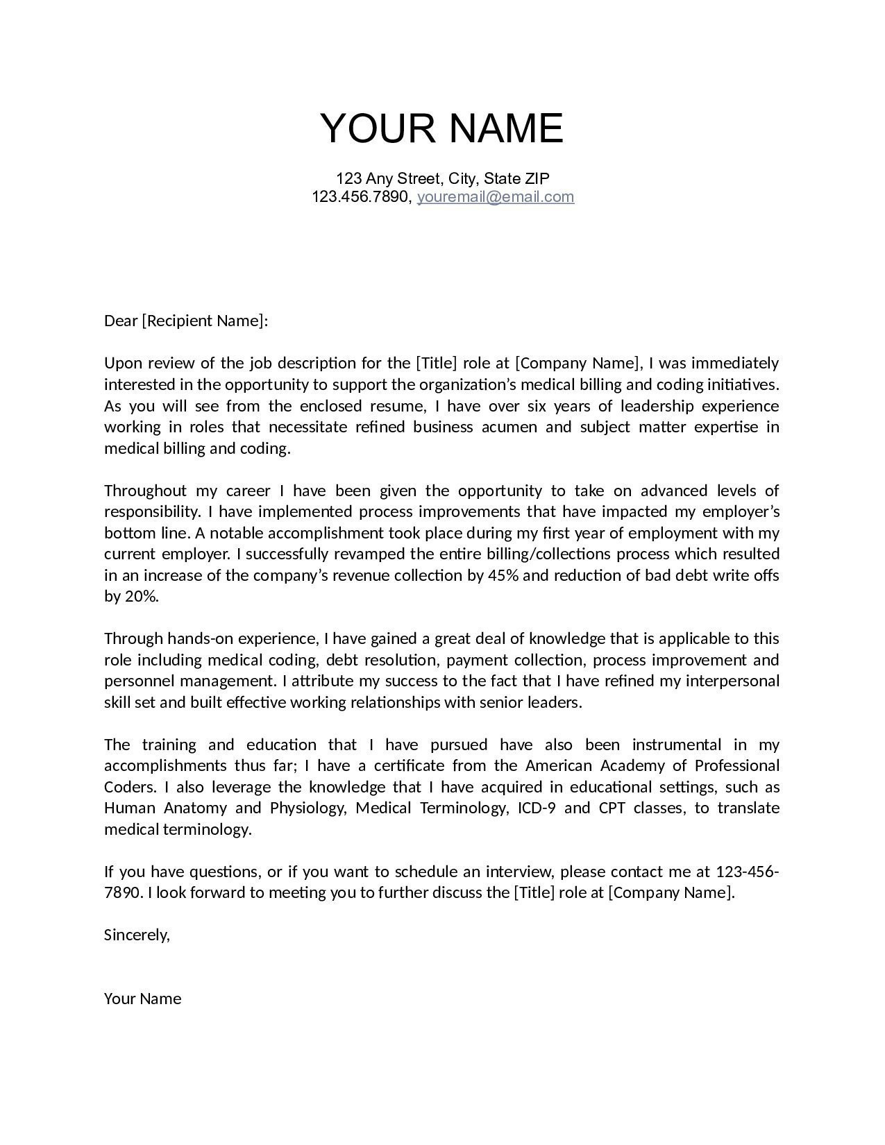 Rescission Letter Template - Singular Real Estate Investment Cover Letter