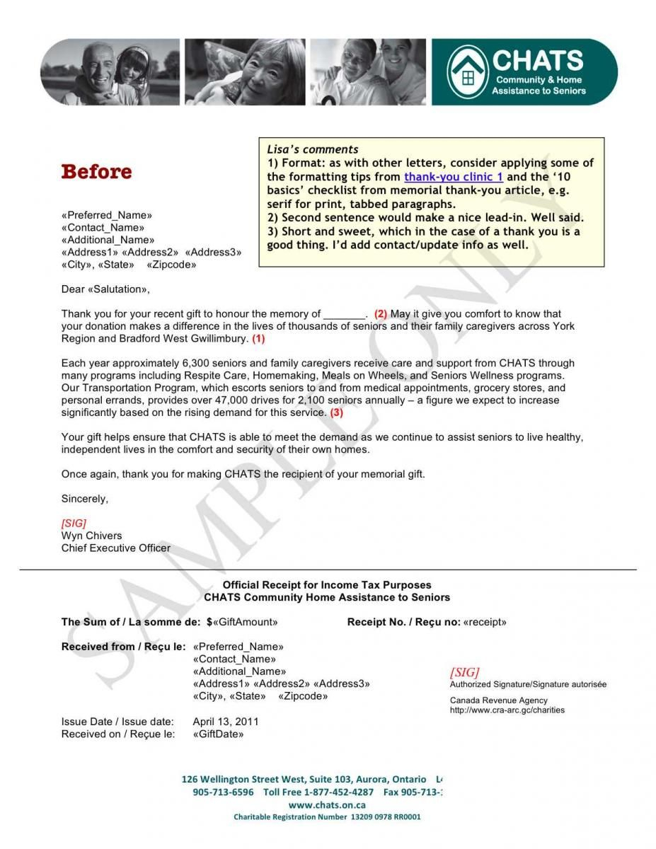 Donation Acknowledgement Letter Template - sofii · In Memoriam Donation Thank You Letter Samples