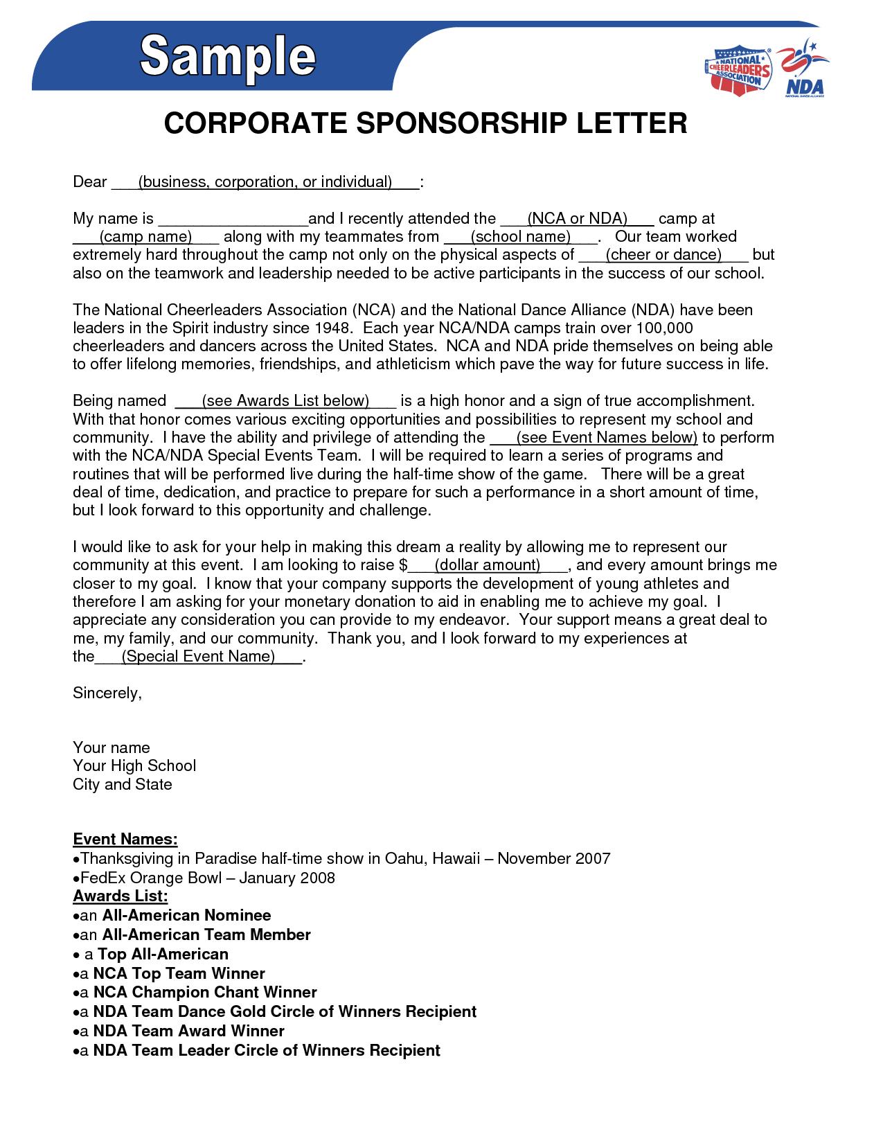 Event Sponsorship Letter Template - Sponsorship form Template