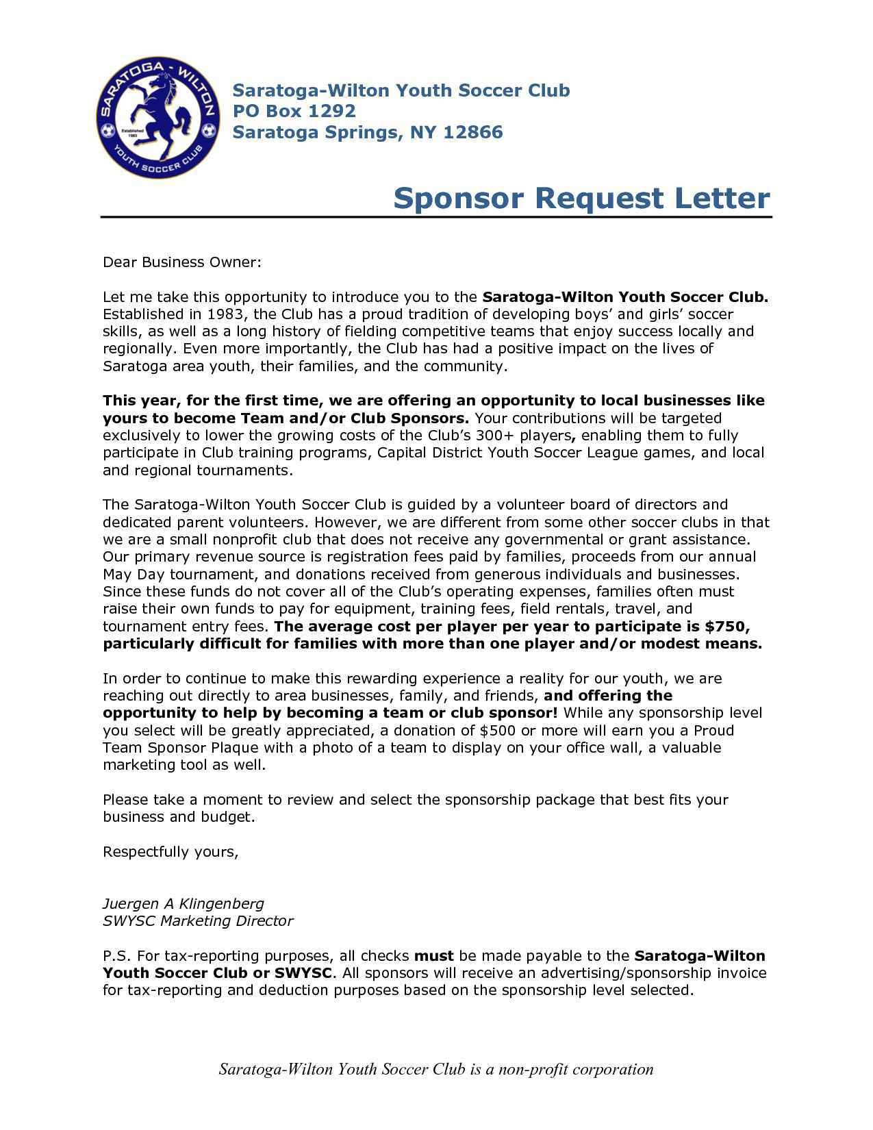 Fundraising Letter Template for Sports Teams - Sponsorship Letter for Sports Inspirationa Sample Letter asking for