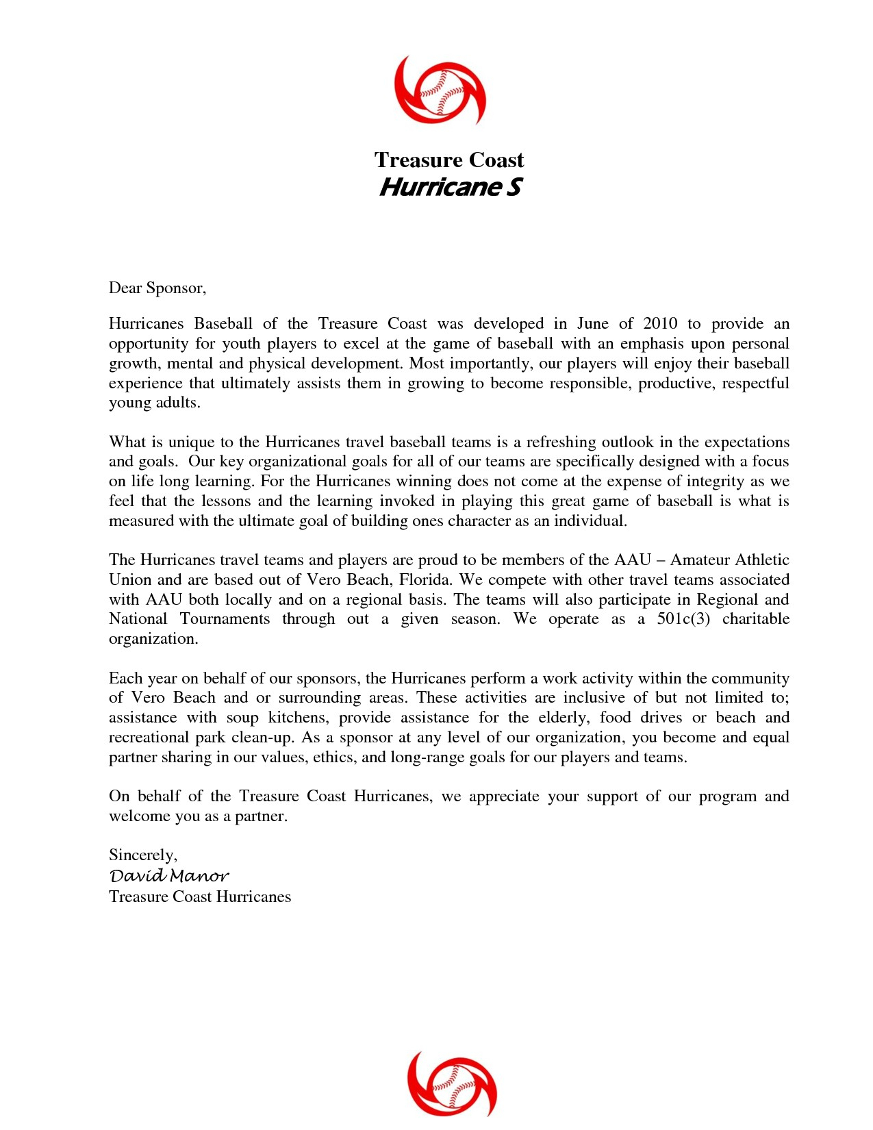Baseball Sponsorship Letter Template - Sponsorship Letter for Sports Refrence Youth Sponsorship Letter