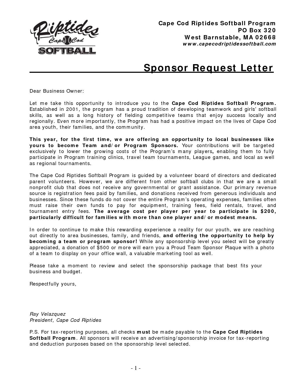 charity sponsorship letter template sponsorship request letter pdf save sample registration letter