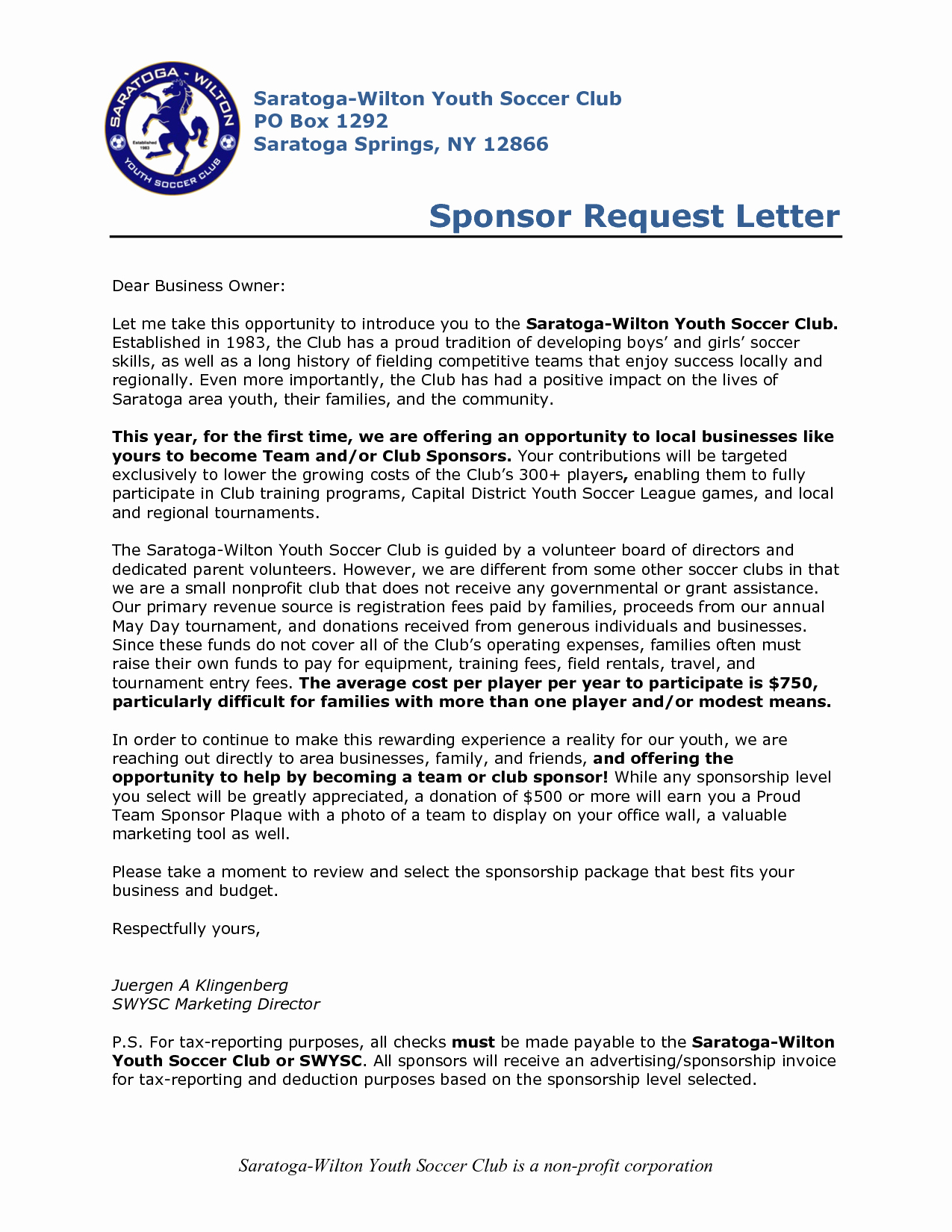 Youth Football Sponsorship Letter Template - Sports Team Sponsorship Proposal Template Best Sponsorship Letter