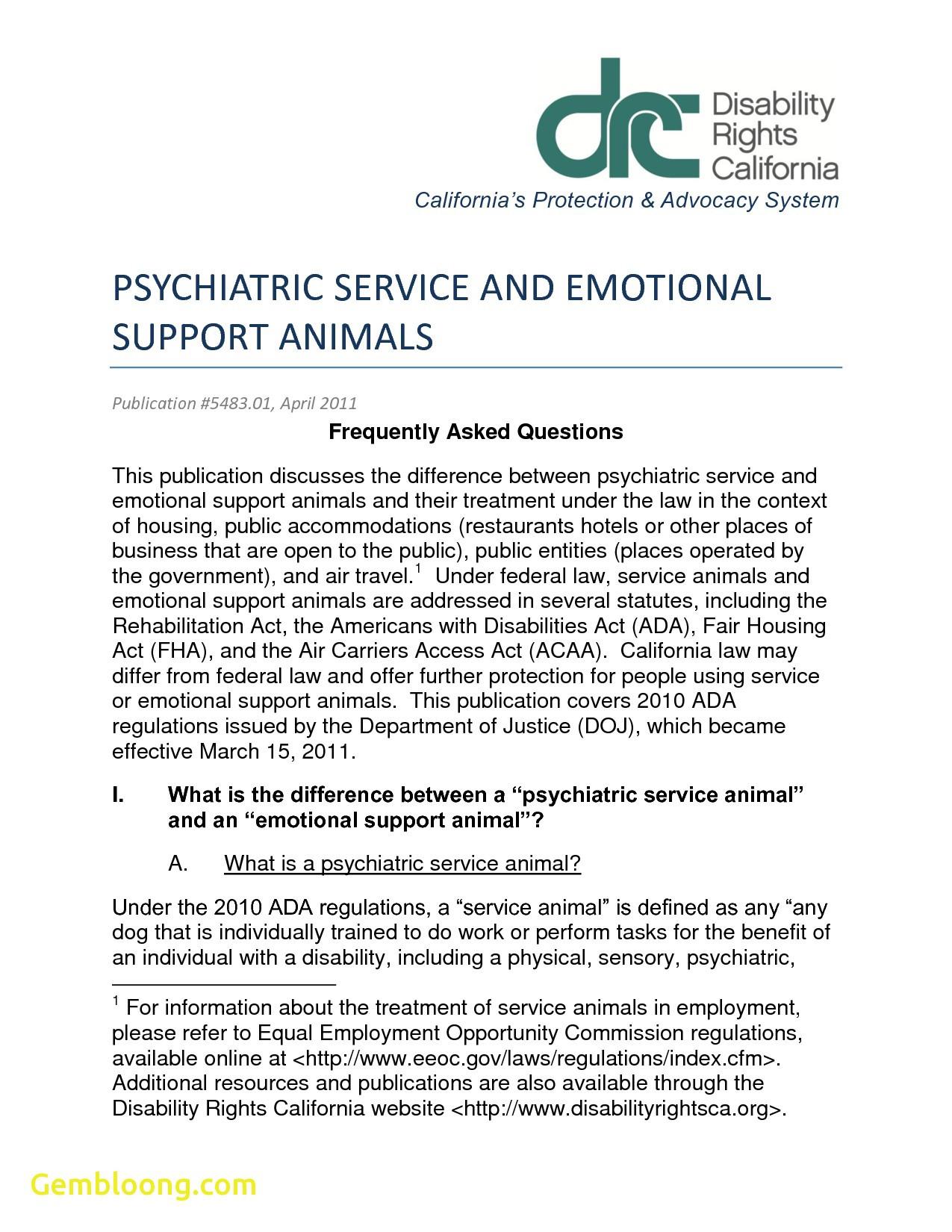 Esa Letter Template - Staggering Emotional assistance Animal Letter