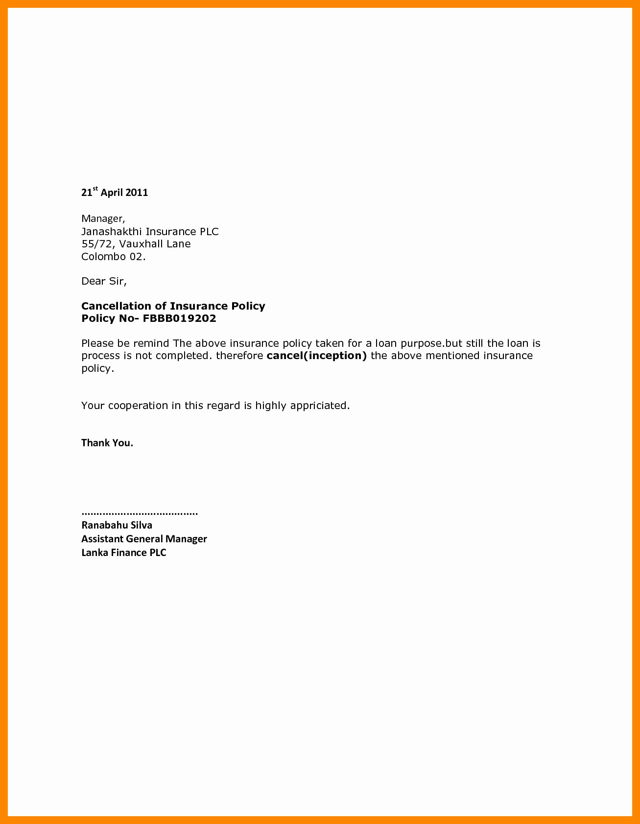 Progressive Cancel Policy >> Extended Car Warranty Cancellation Letter Template Examples Letter