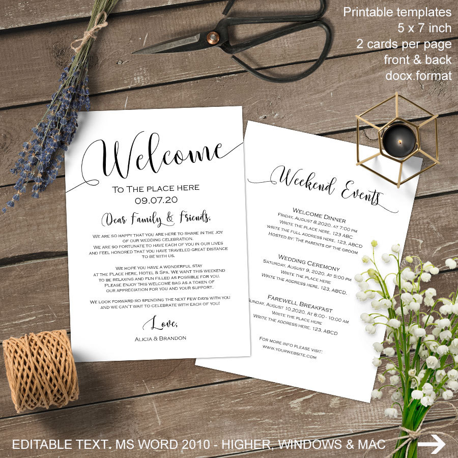 Wedding Welcome Bag Letter Template - Stunning Wel E Note for Wedding Contemporary Styles & Ideas 2018