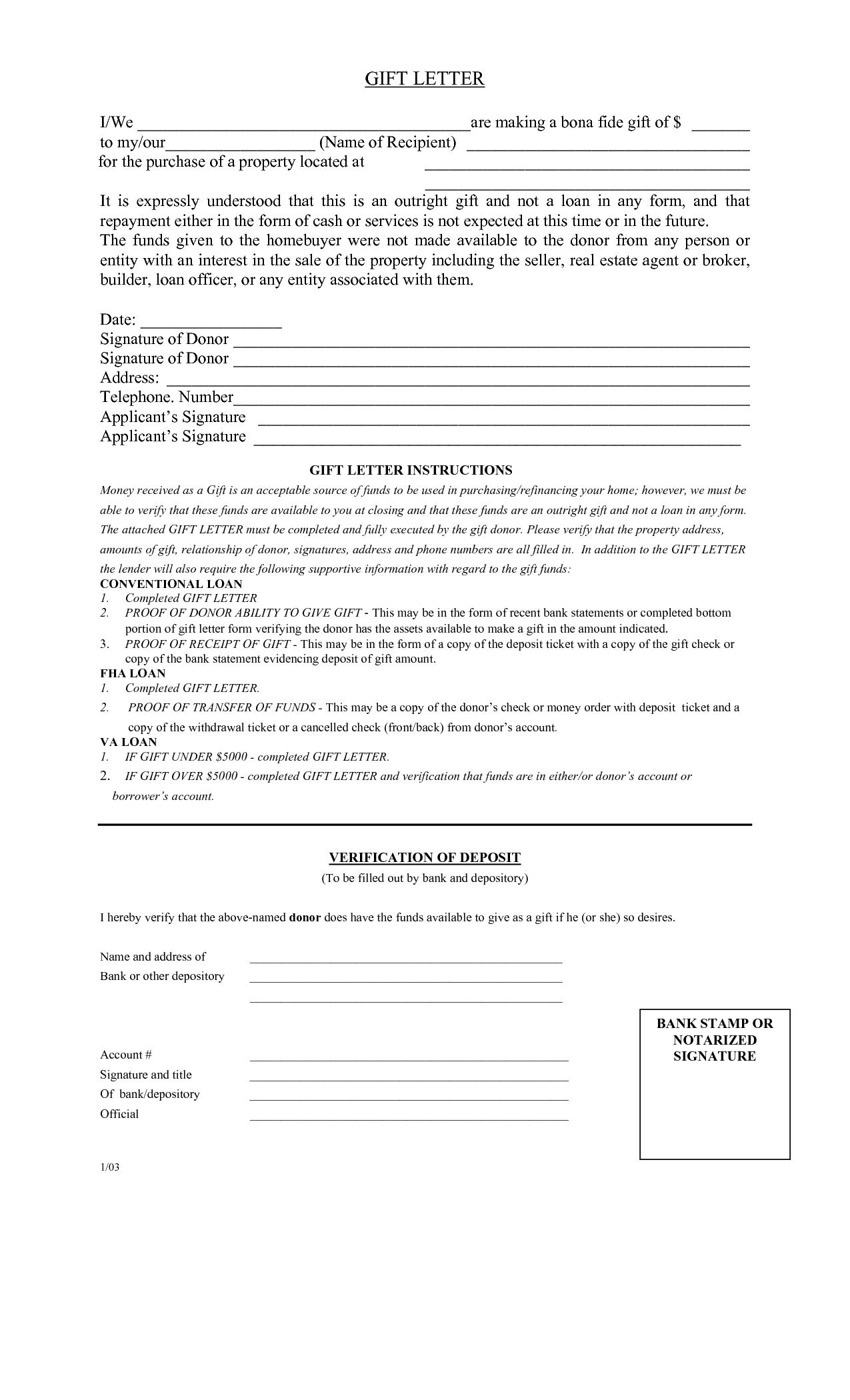 Fha Gift Letter Template - T Letter solarfm